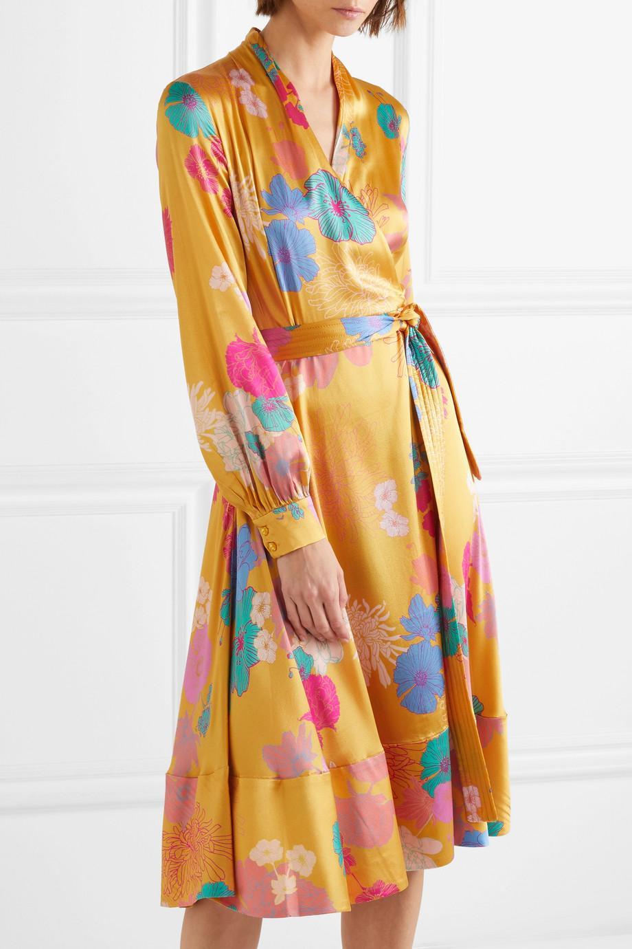 Reflection Floral-print Silk-blend Satin Wrap Dress - Marigold Stine Goya Order Cheap Online Free Shipping New Arrival Outlet Big Discount Ah98ihhnxD