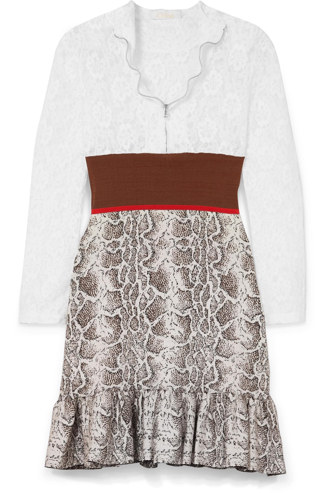 Paneled Lace, Stretch And Jacquard-knit Mini Dress - Brown Chlo