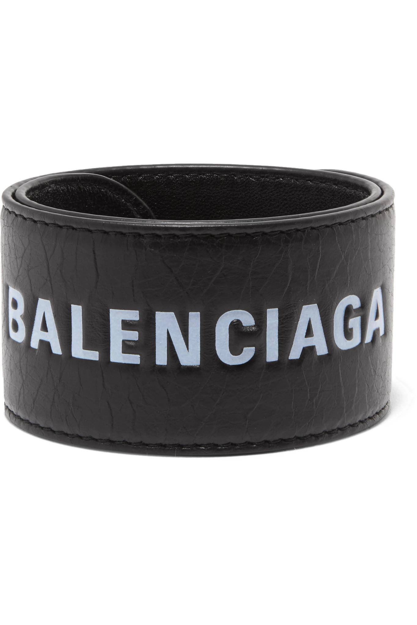 53a5102dd446b Balenciaga - Black Cycle Printed Textured-leather Bracelet - Lyst. View  fullscreen