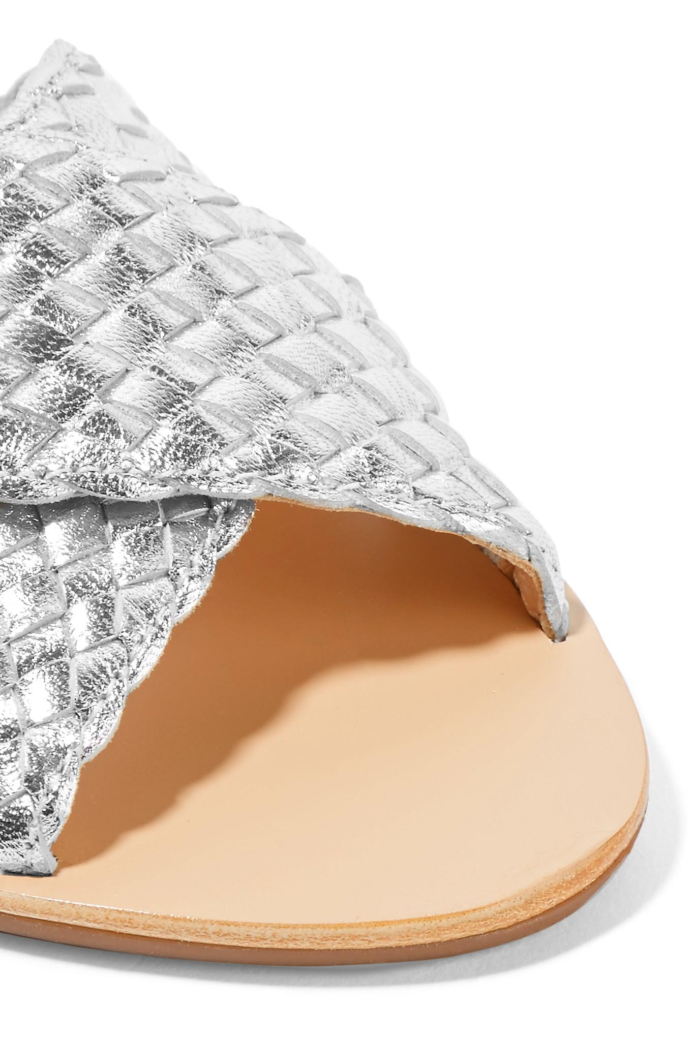 b70b78e01f41 Loeffler Randall - Claudie Woven Metallic Leather Slides - Lyst. View  fullscreen