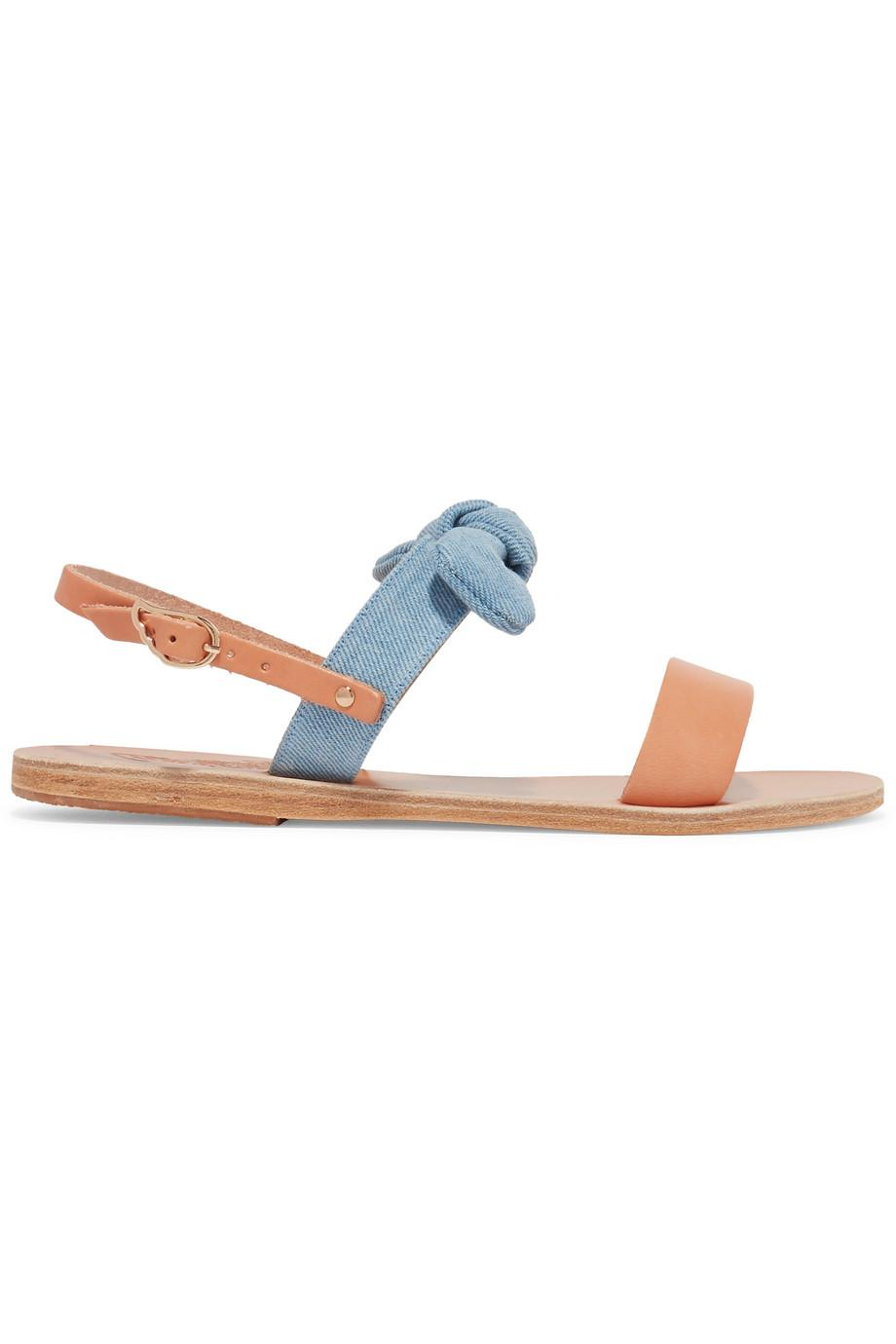 Clio Bow-embellished Denim And Leather Sandals - Tan Ancient Greek Sandals Yoh7gVwqzF