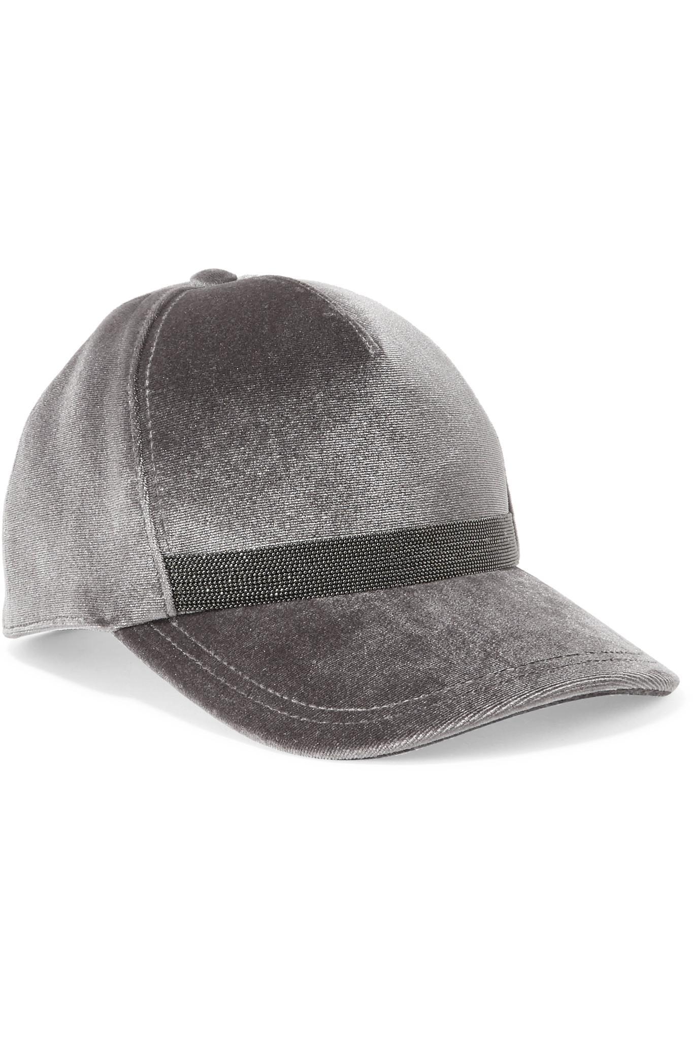 0dd806b604a Lyst - Brunello Cucinelli Beaded Velvet Baseball Cap in Metallic