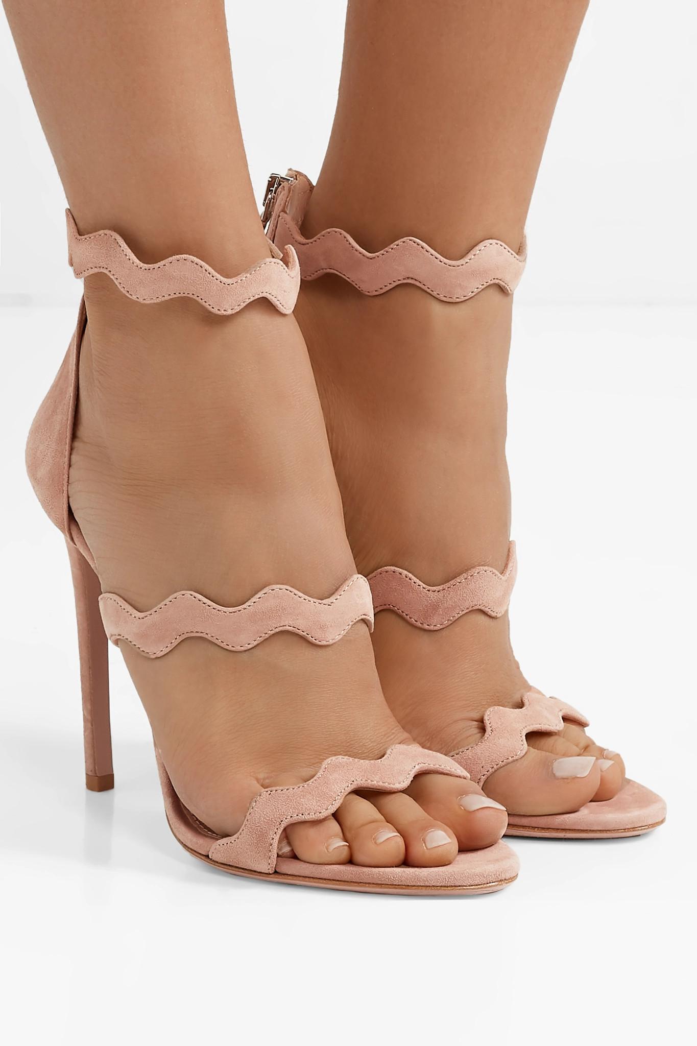 17773a064a5 Prada - Natural 115 Scalloped Suede Sandals - Lyst. View fullscreen
