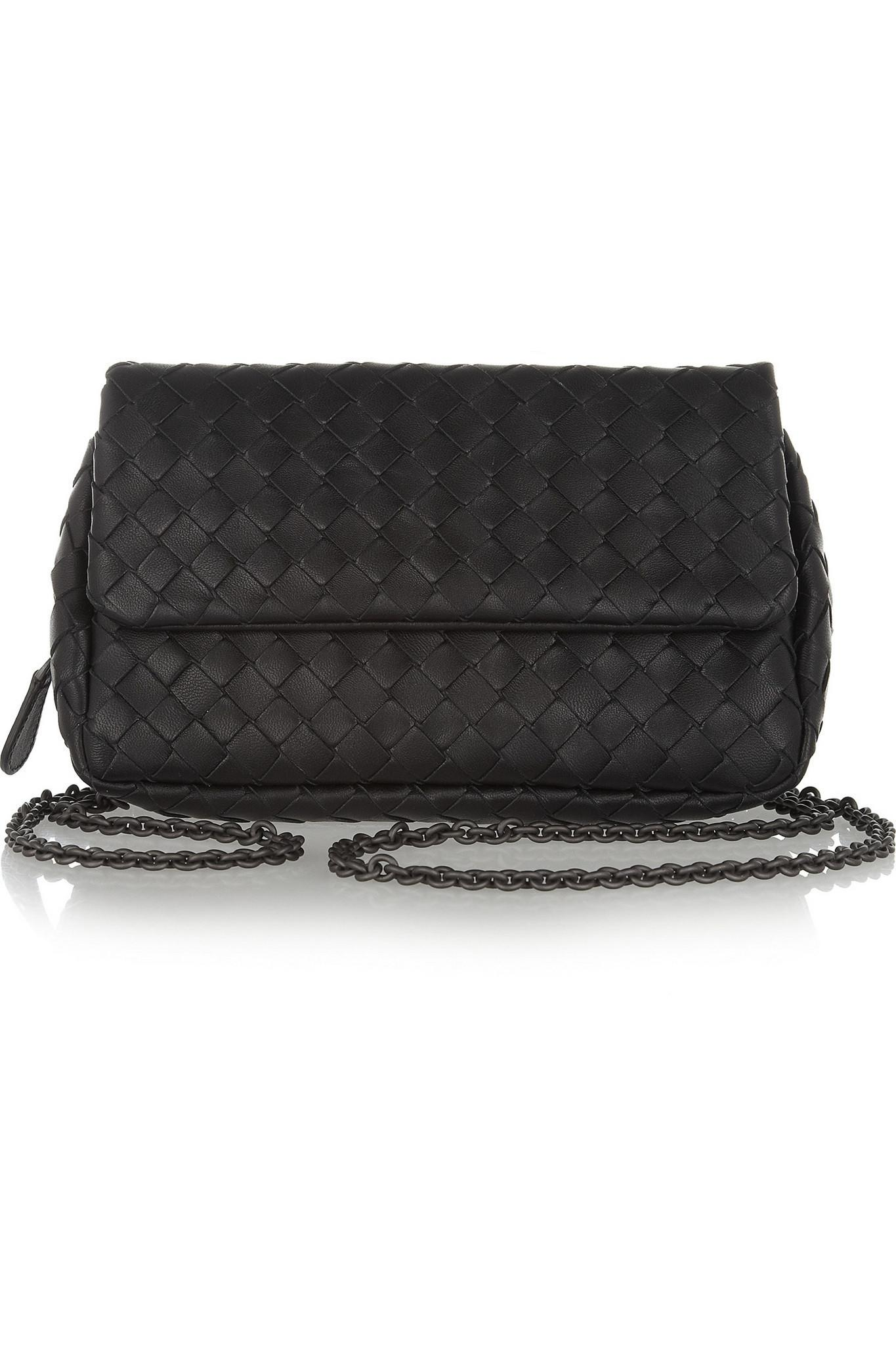 f91dcf92a7 Bottega Veneta. Women s Black Messenger Mini Intrecciato Leather Shoulder  Bag
