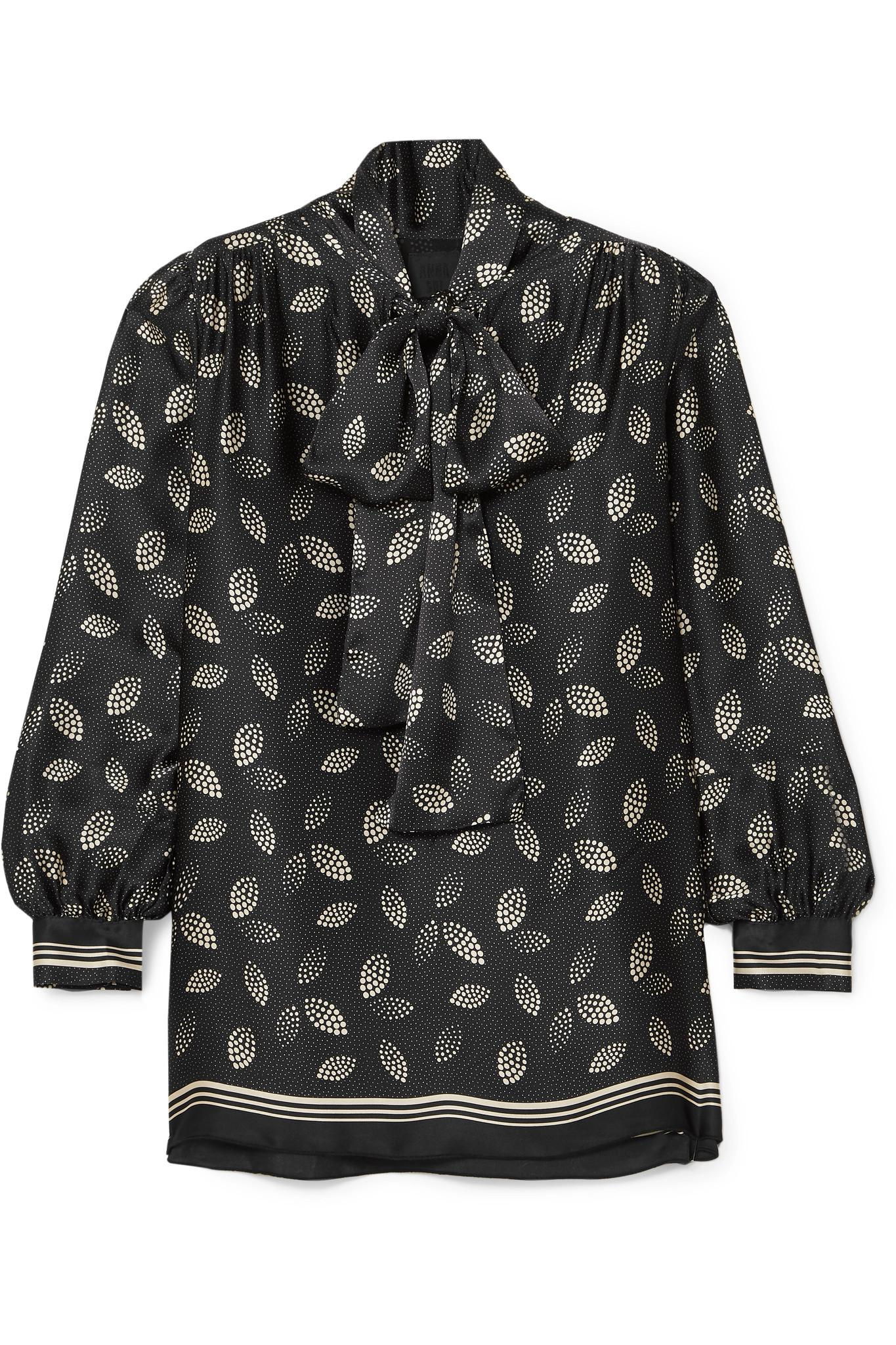 ed253087069cf3 Anna Sui Pussy-bow Printed Silk-charmeuse Blouse in Black - Lyst