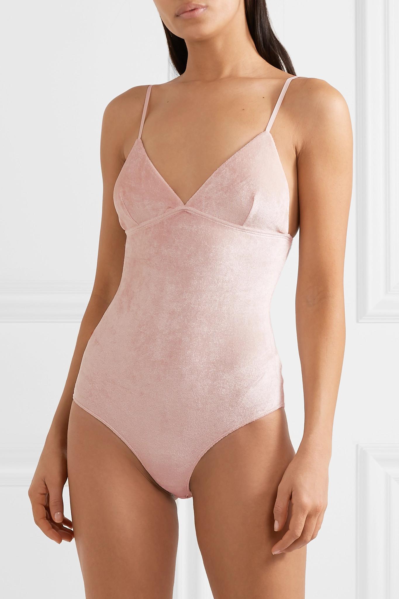7062ee7c33 Baserange - Pink Mississippi Modal-blend Velour Bodysuit - Lyst. View  fullscreen