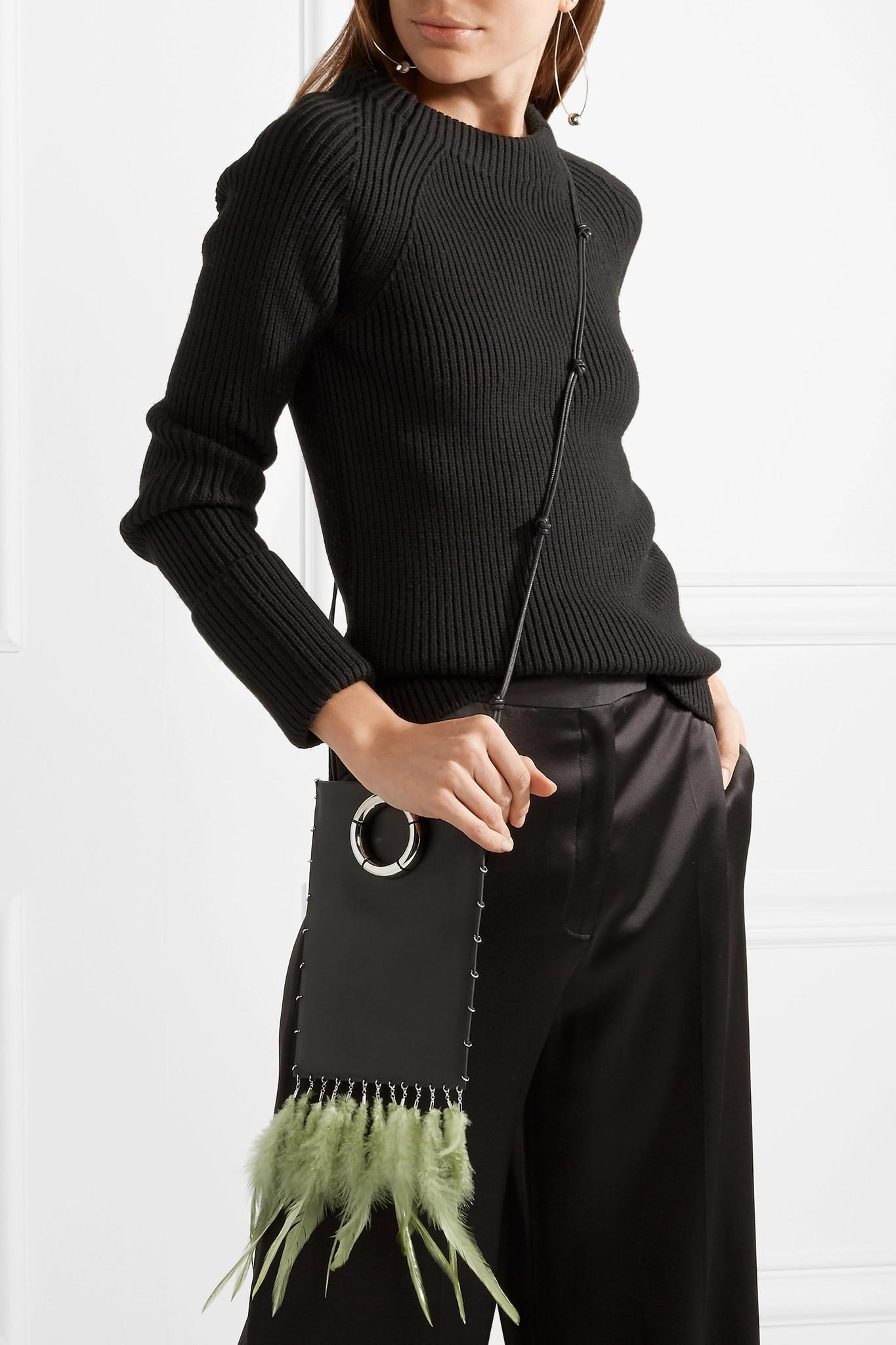 Medicine Pouch Feather-embellished Textured-leather Shoulder Bag - Black The Row y1IoAkxb