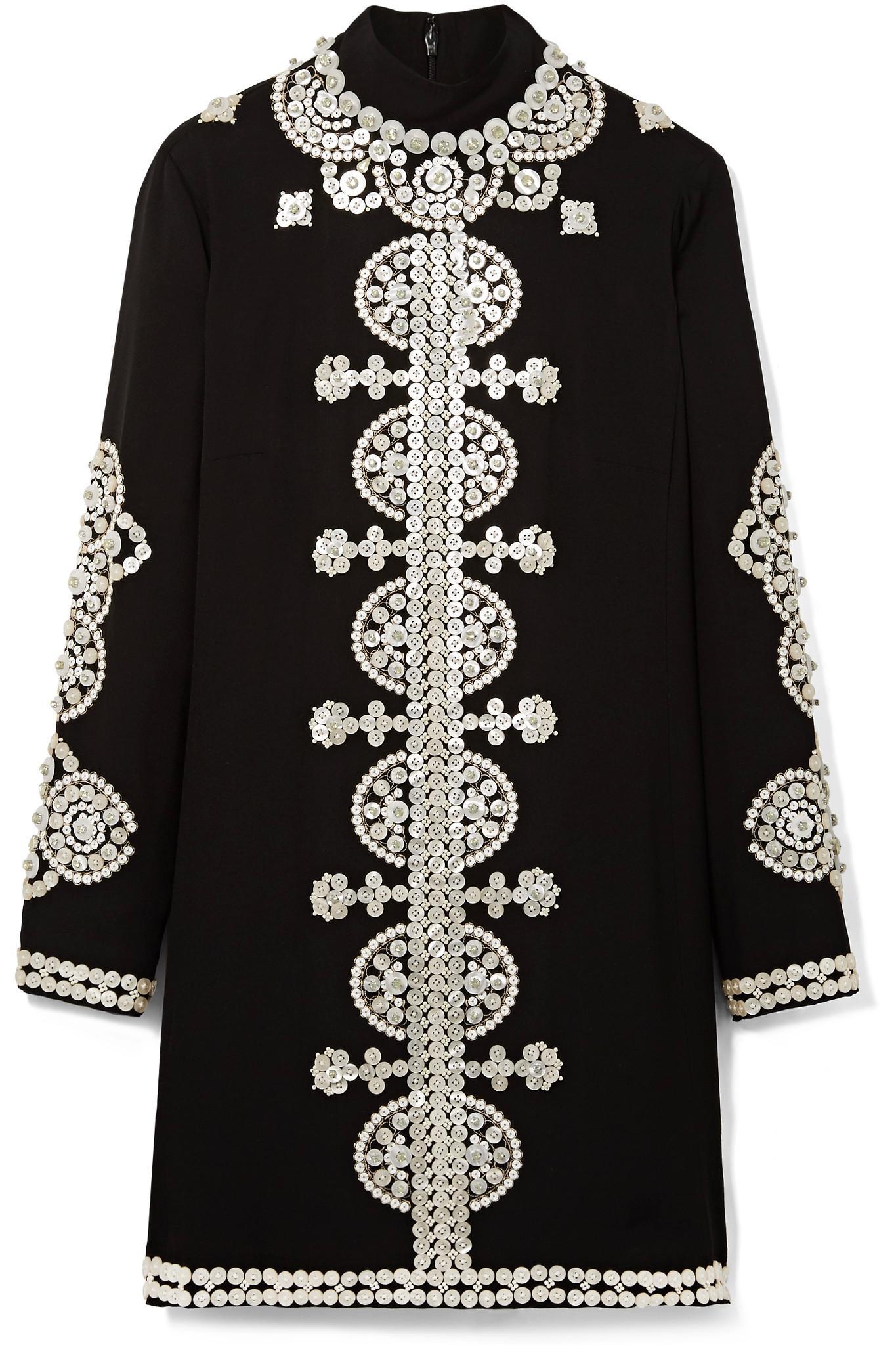 Tory burch Sylvia Embellished Crepe Mini Dress in Black