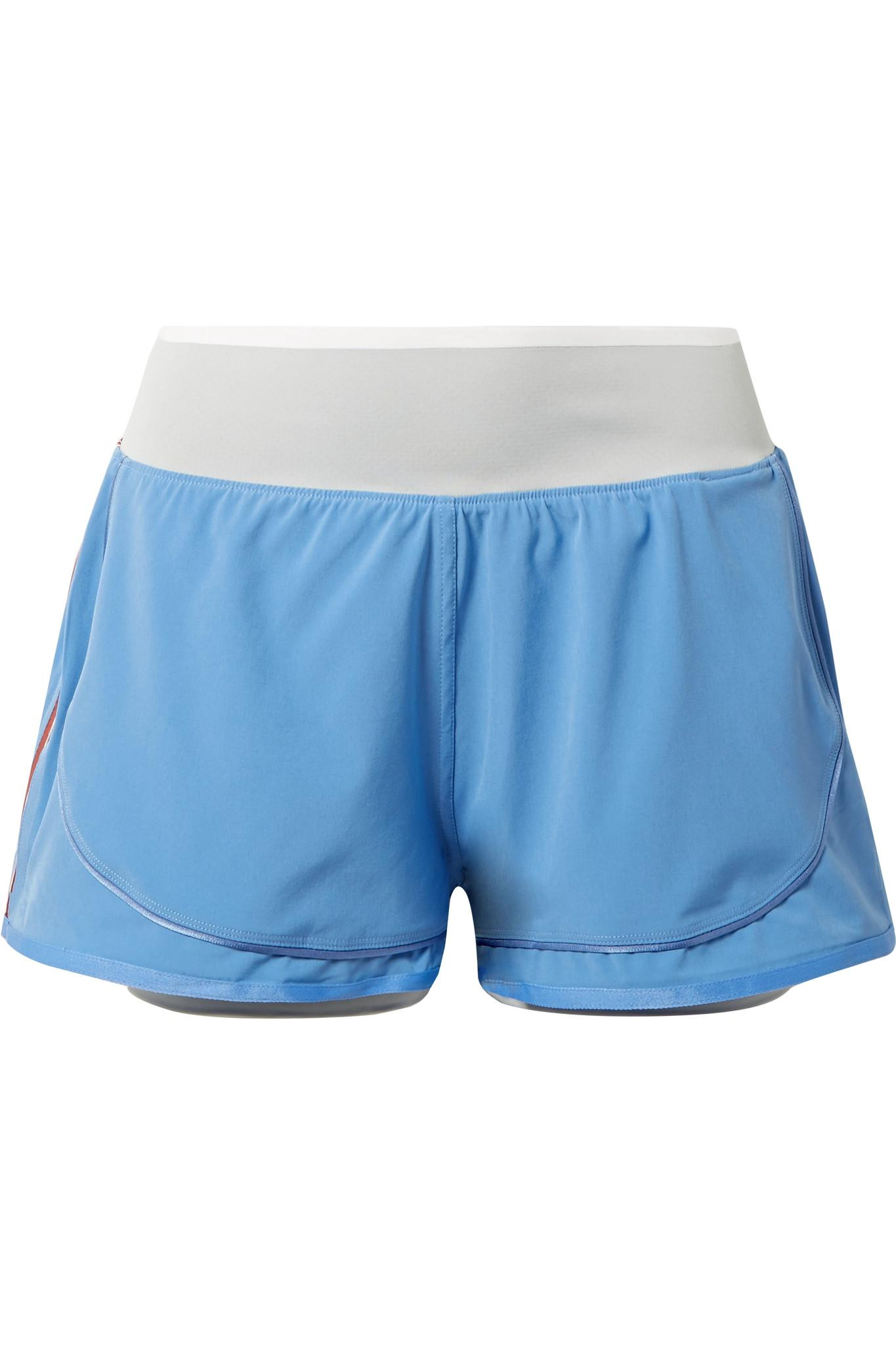 Climastorm Hiit Striped Layered Stretch Shorts - Light blue adidas by Stella McCartney zxoCF7H5