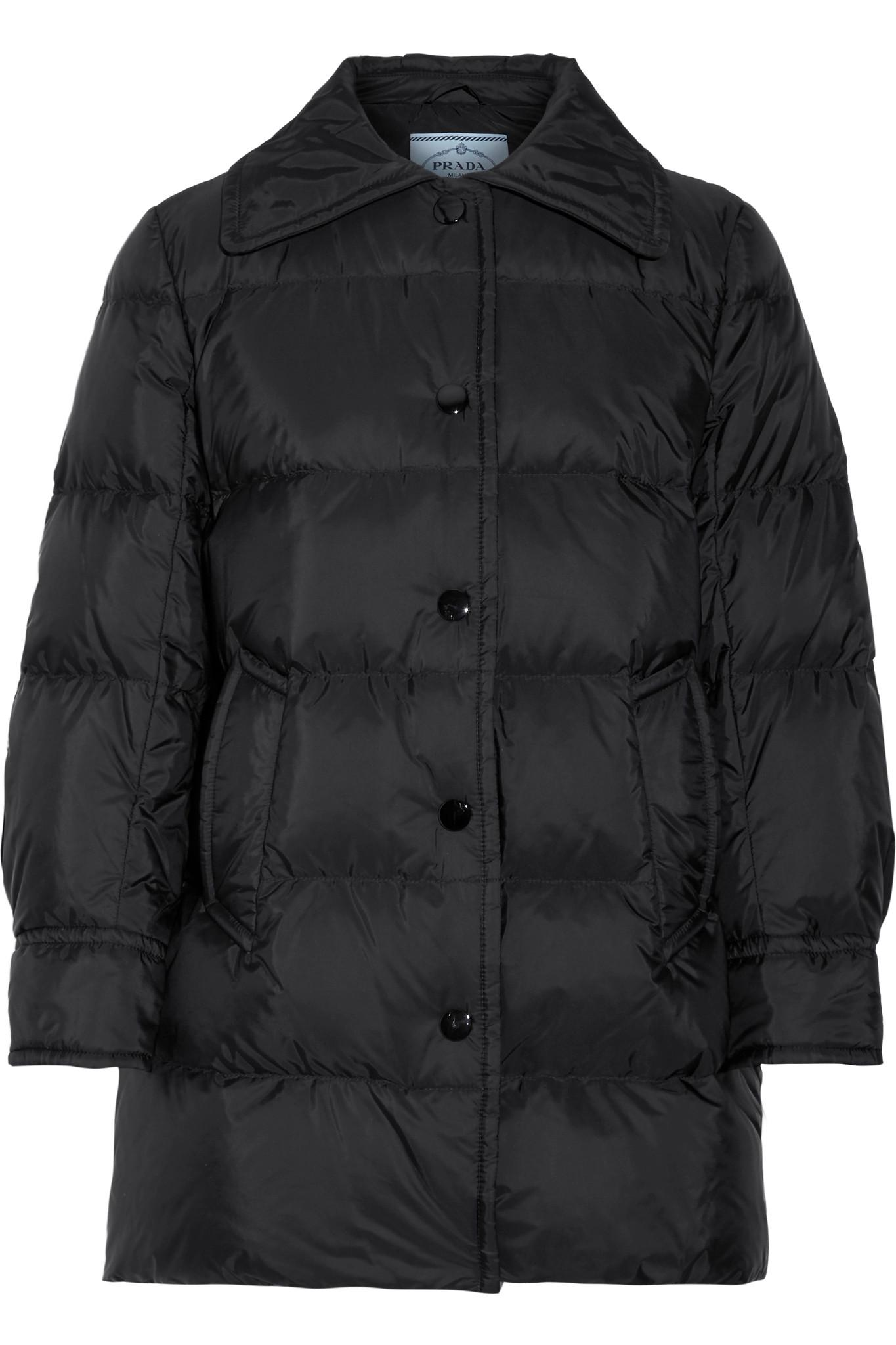 906e37111a Prada - Black Quilted Shell Down Jacket - Lyst