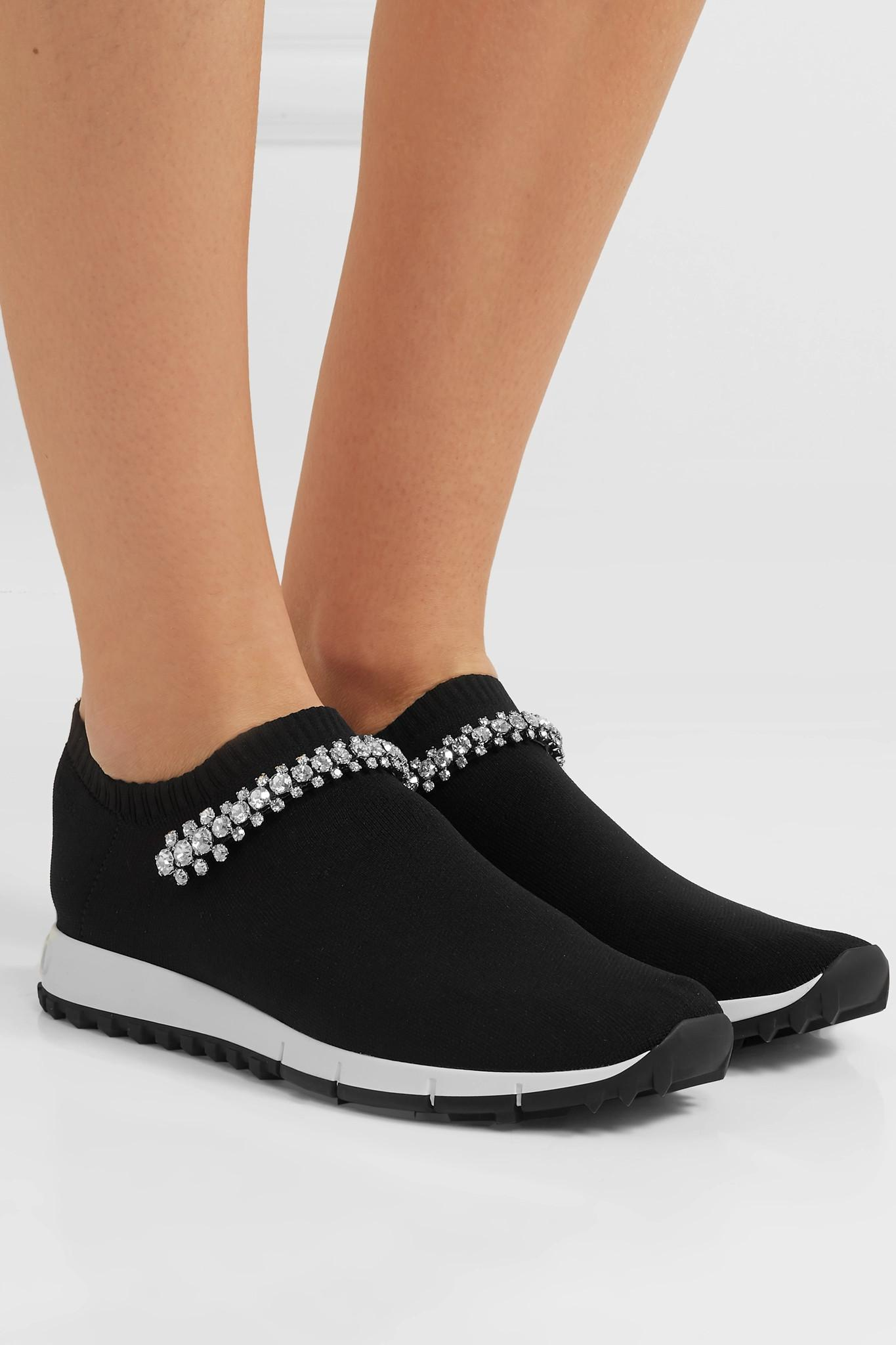 ce81a5905f64 Jimmy Choo - Black Verona Crystal-embellished Stretch-knit Sneakers - Lyst.  View fullscreen