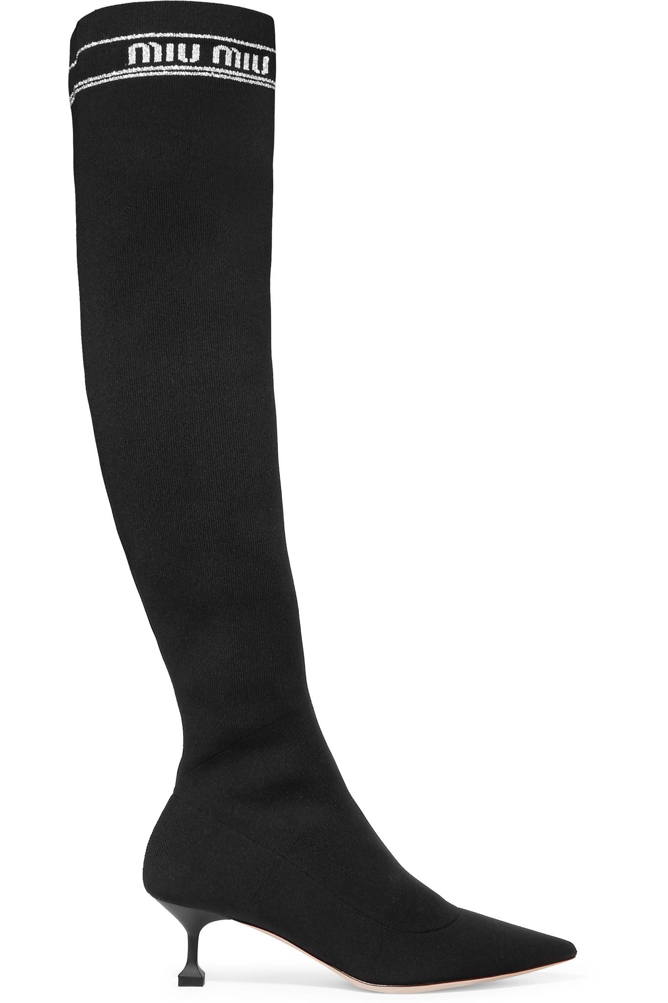 7ffdf2b4ec0 Lyst - Miu Miu Ribbed-knit Over-the-knee Sock Boots in Black
