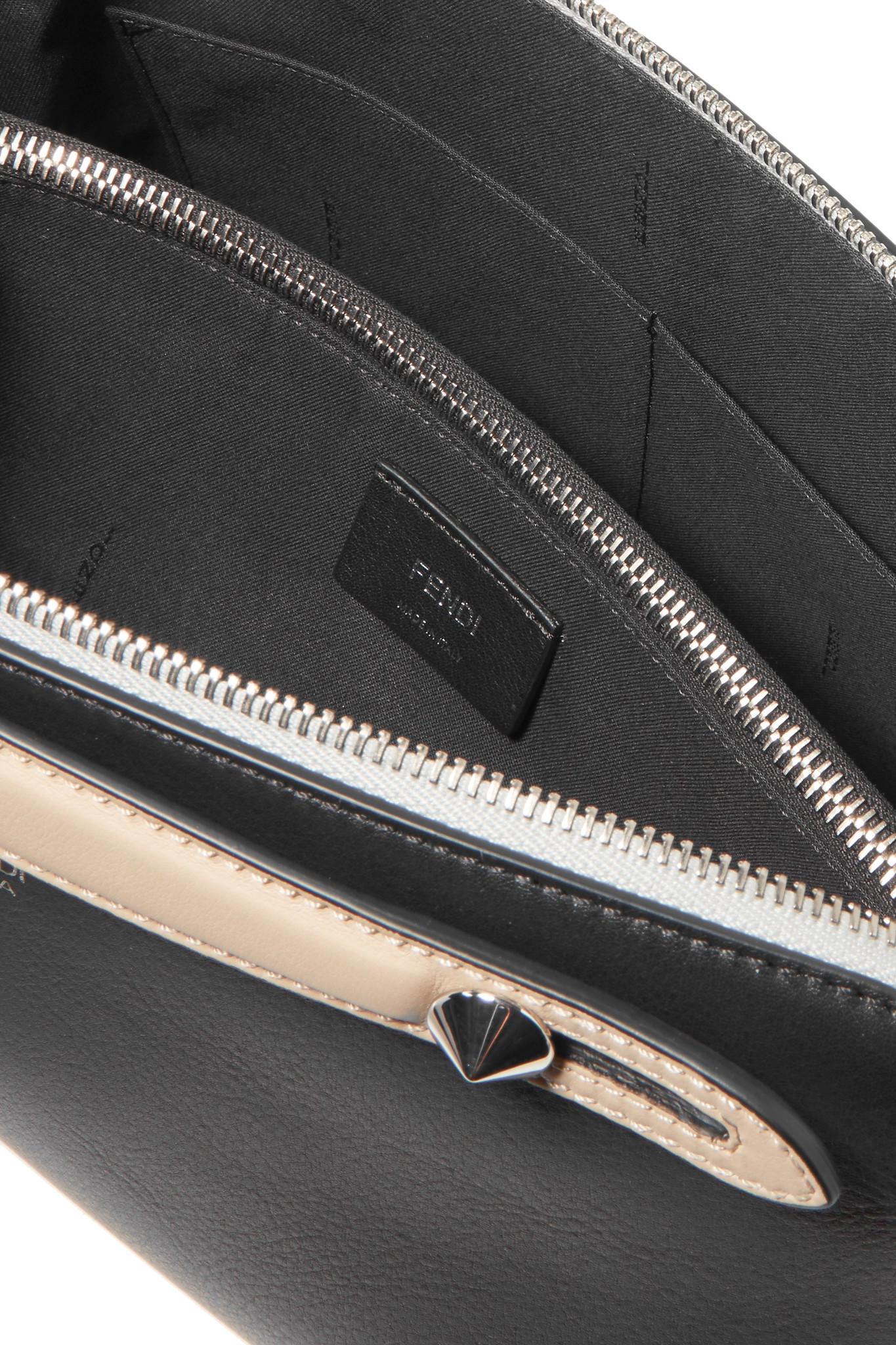 5de33f4a460a Fendi - Black By The Way Small Color-block Textured-leather Shoulder Bag -.  View fullscreen