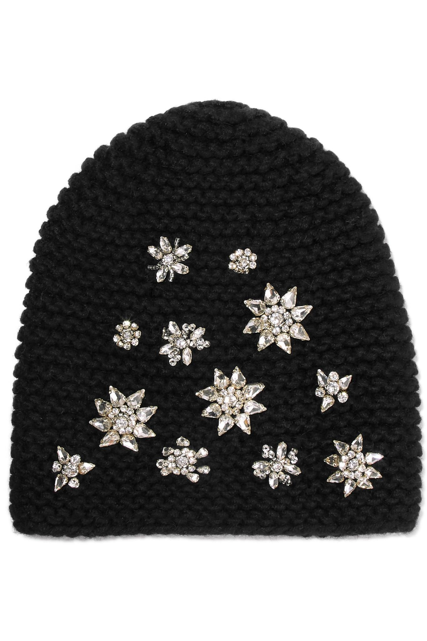 19a5018cf88 Jennifer Behr Crystal-embellished Alpaca Beanie in Black - Lyst
