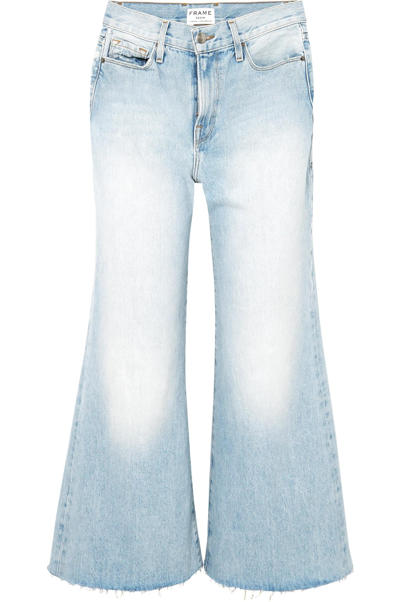 2213c60283c8 Frame Le Palazzo Frayed Cropped High-rise Wide-leg Jeans in Blue - Lyst