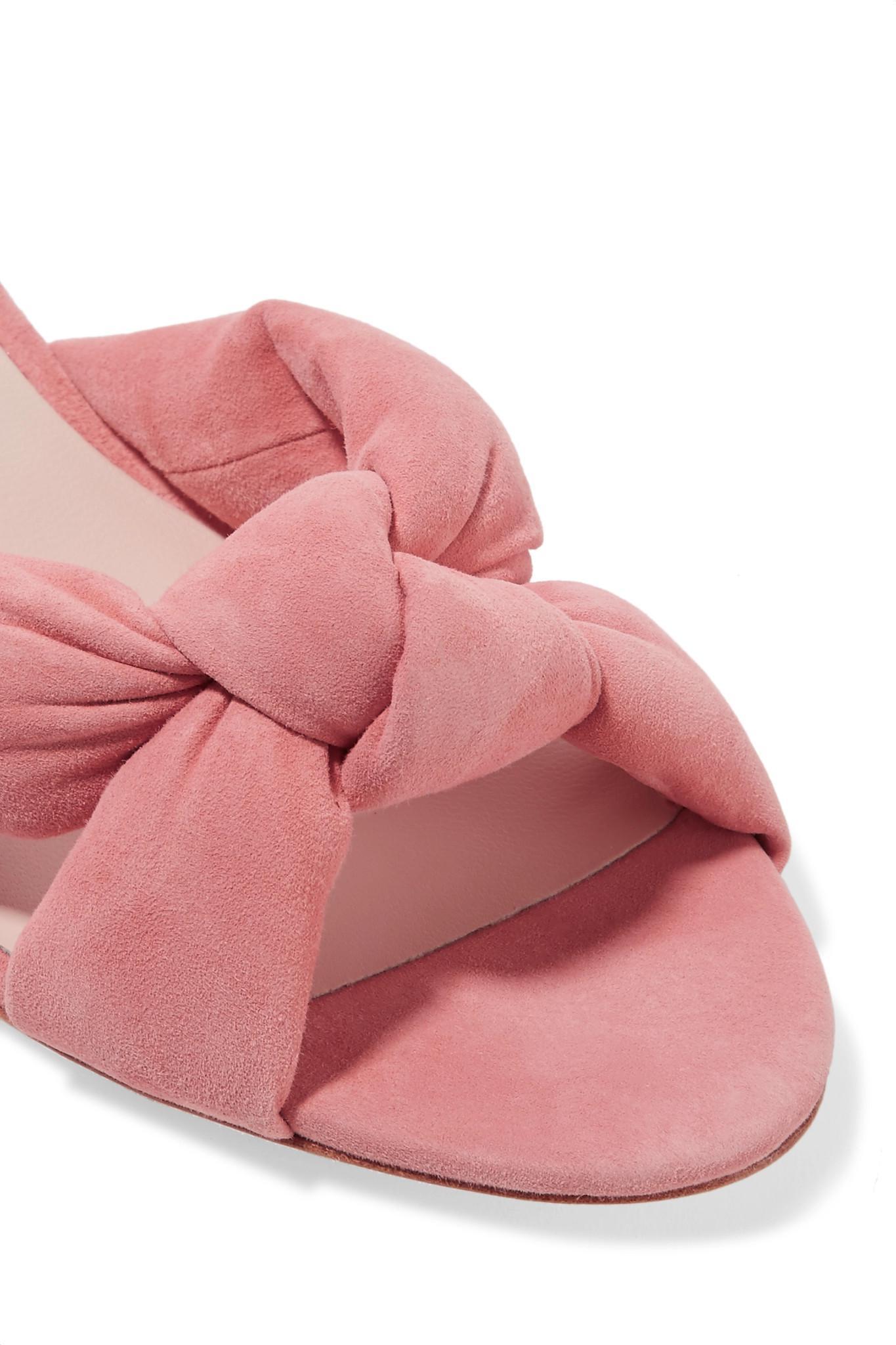 56b2569ee4 Loeffler Randall Elsie Knotted Suede Sandals in Pink - Lyst