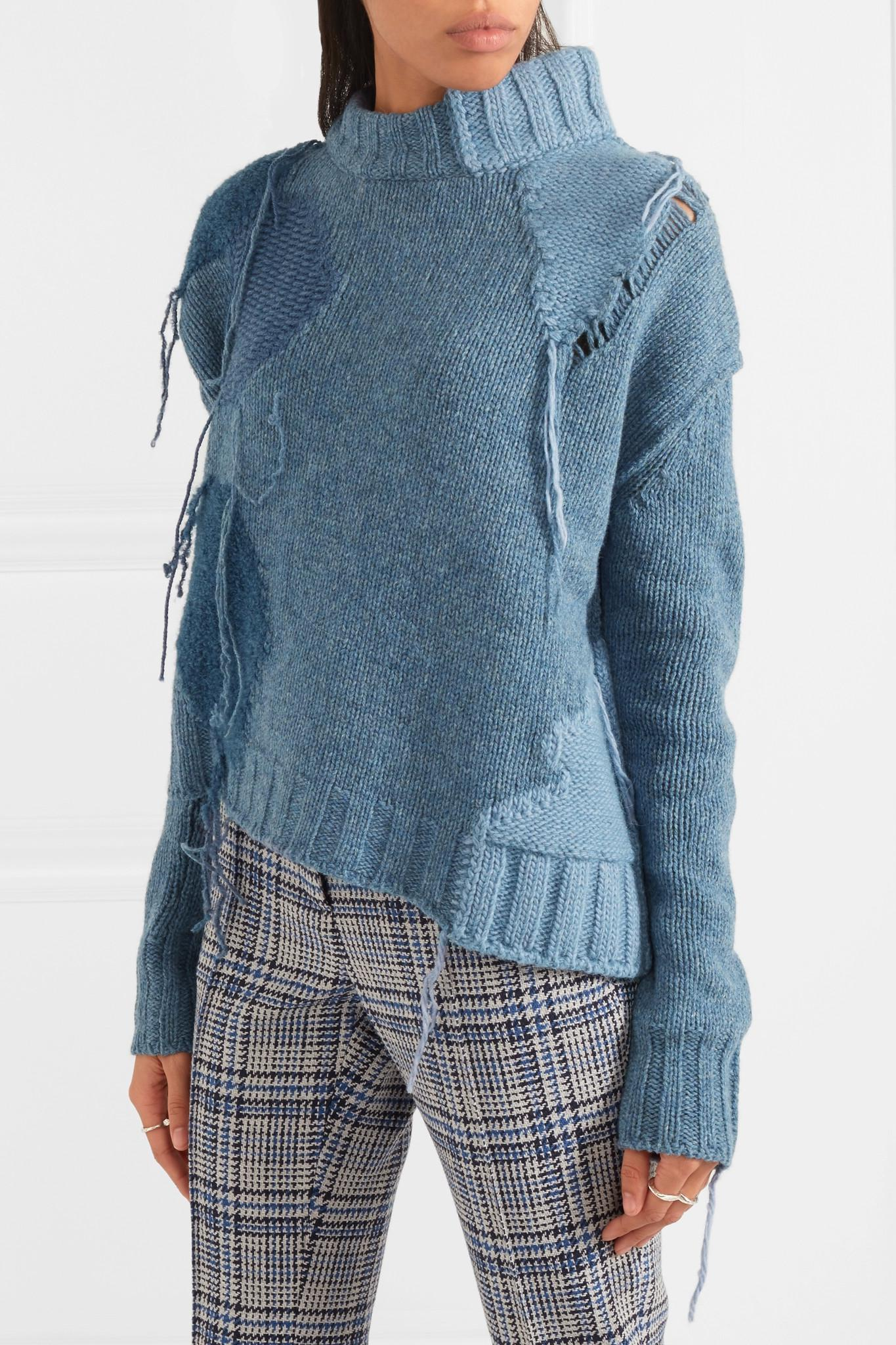 lyst acne ovira asymmetric patchwork wool blend sweater in blue. Black Bedroom Furniture Sets. Home Design Ideas