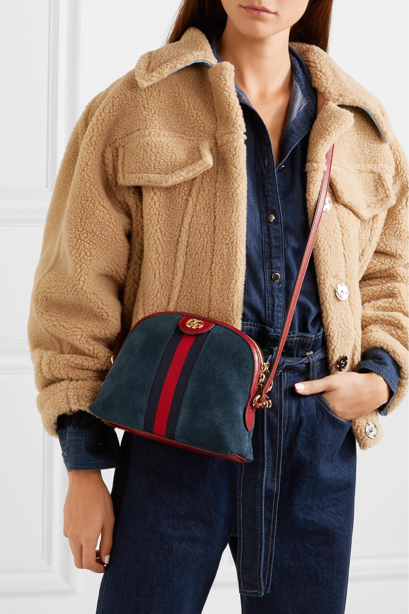 681c82512367 Gucci - Blue Ophidia Patent Leather-trimmed Suede Shoulder Bag - Lyst. View  fullscreen