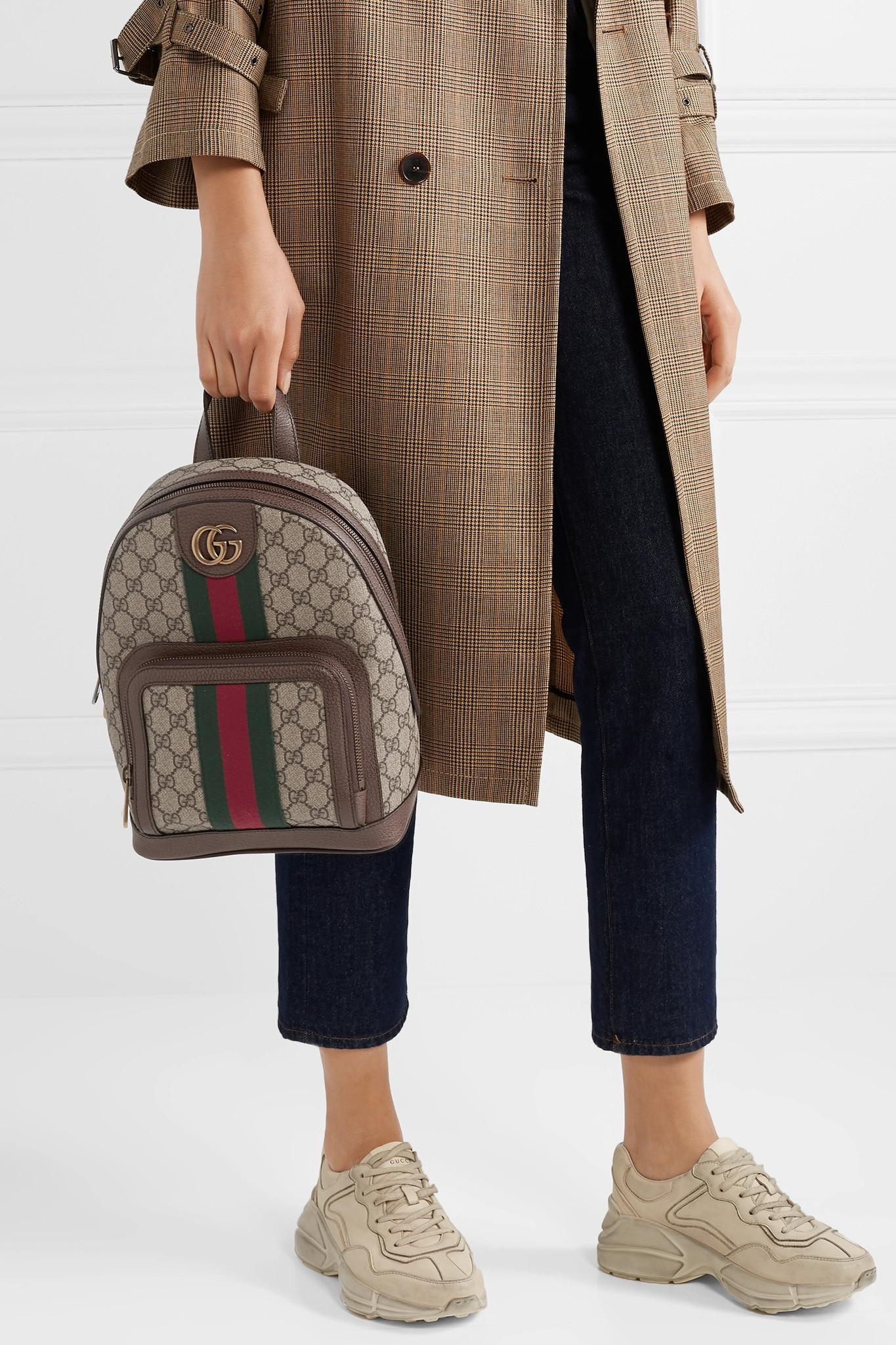Gucci - Natural Ophidia Small Textured Leather-trimmed Printed Coated-canvas  Backpack - Lyst. View fullscreen db6724dce9e26