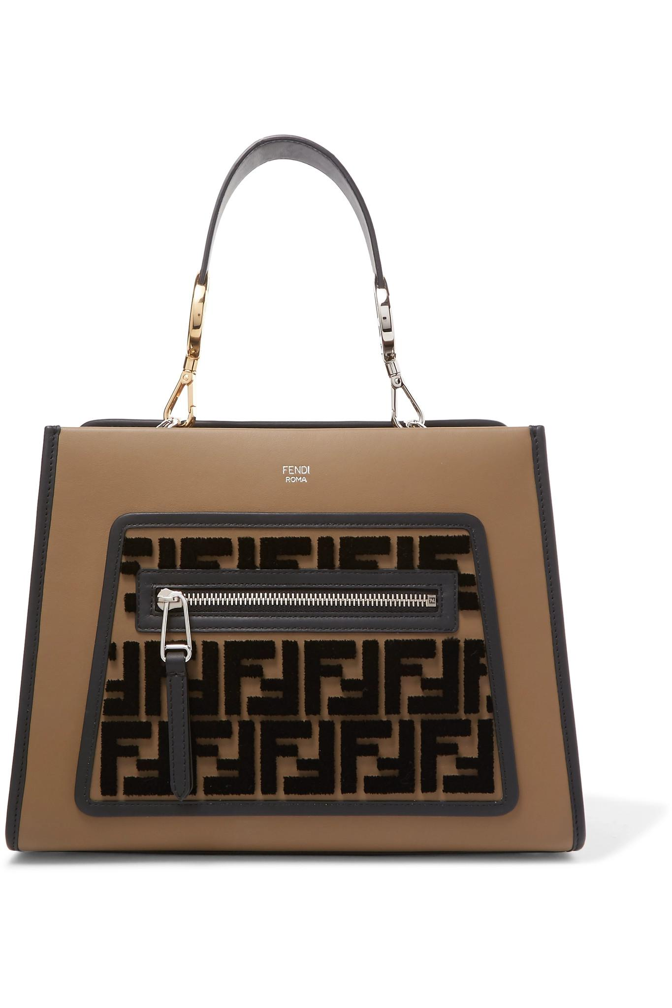 06a2243f23f0 Fendi Runaway Small Flocked Leather Tote in Brown - Lyst
