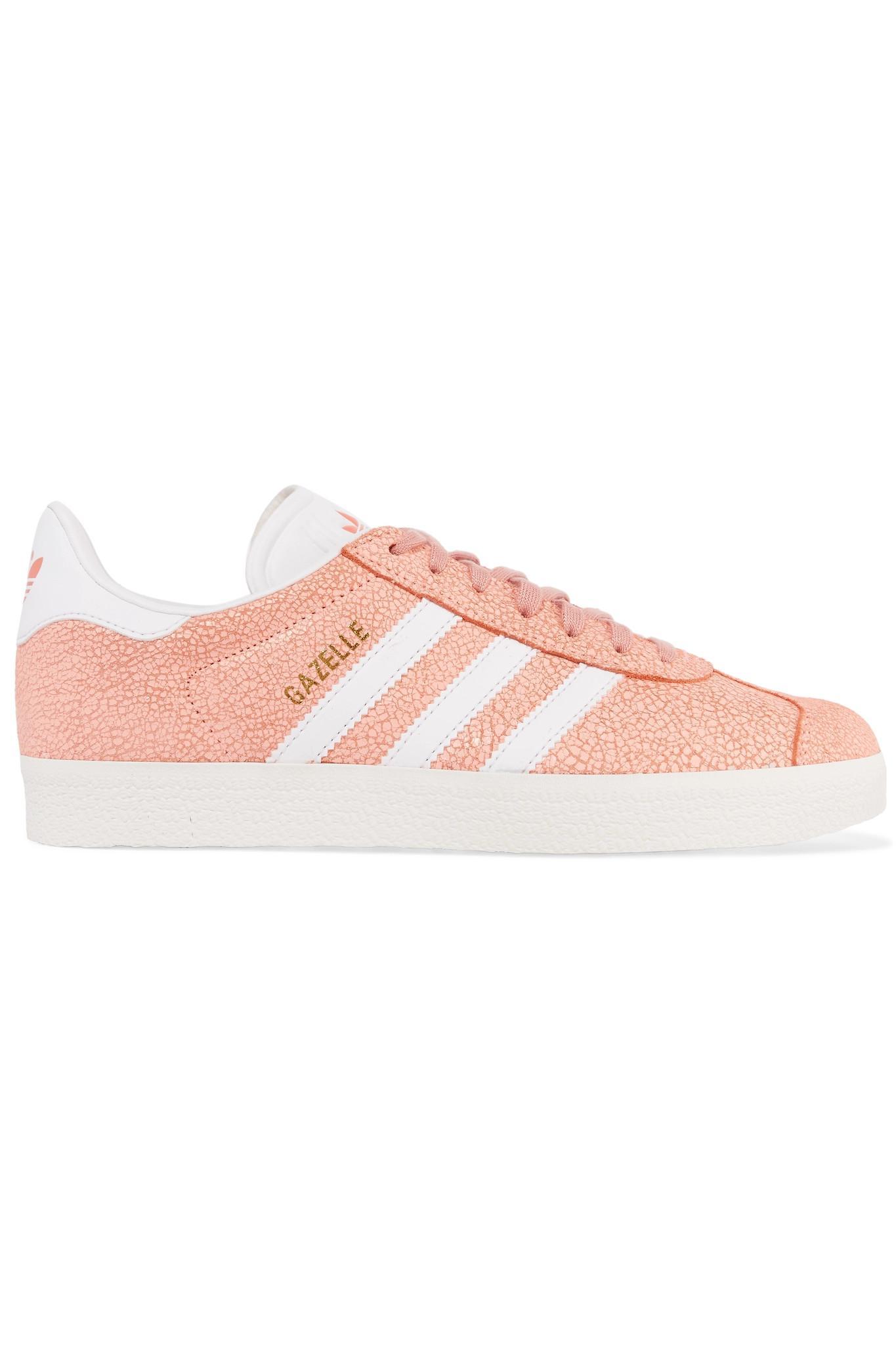 Adidas Originals - Pink Gazelle Cracked-suede Sneakers - Lyst. View  fullscreen 5eab0b414