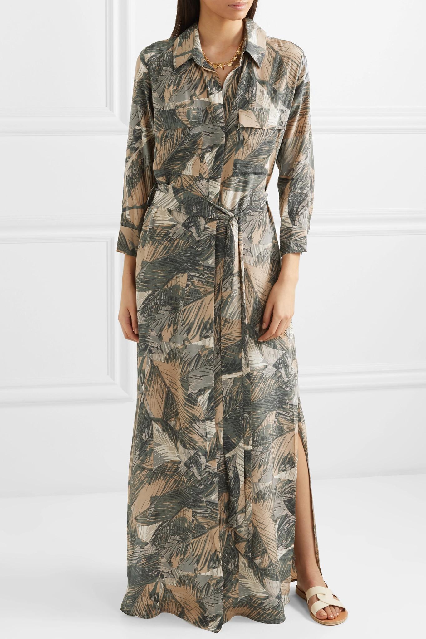 Cameron Printed Silk-satin Maxi Dress - Gray L'agence AI0smQsfb3