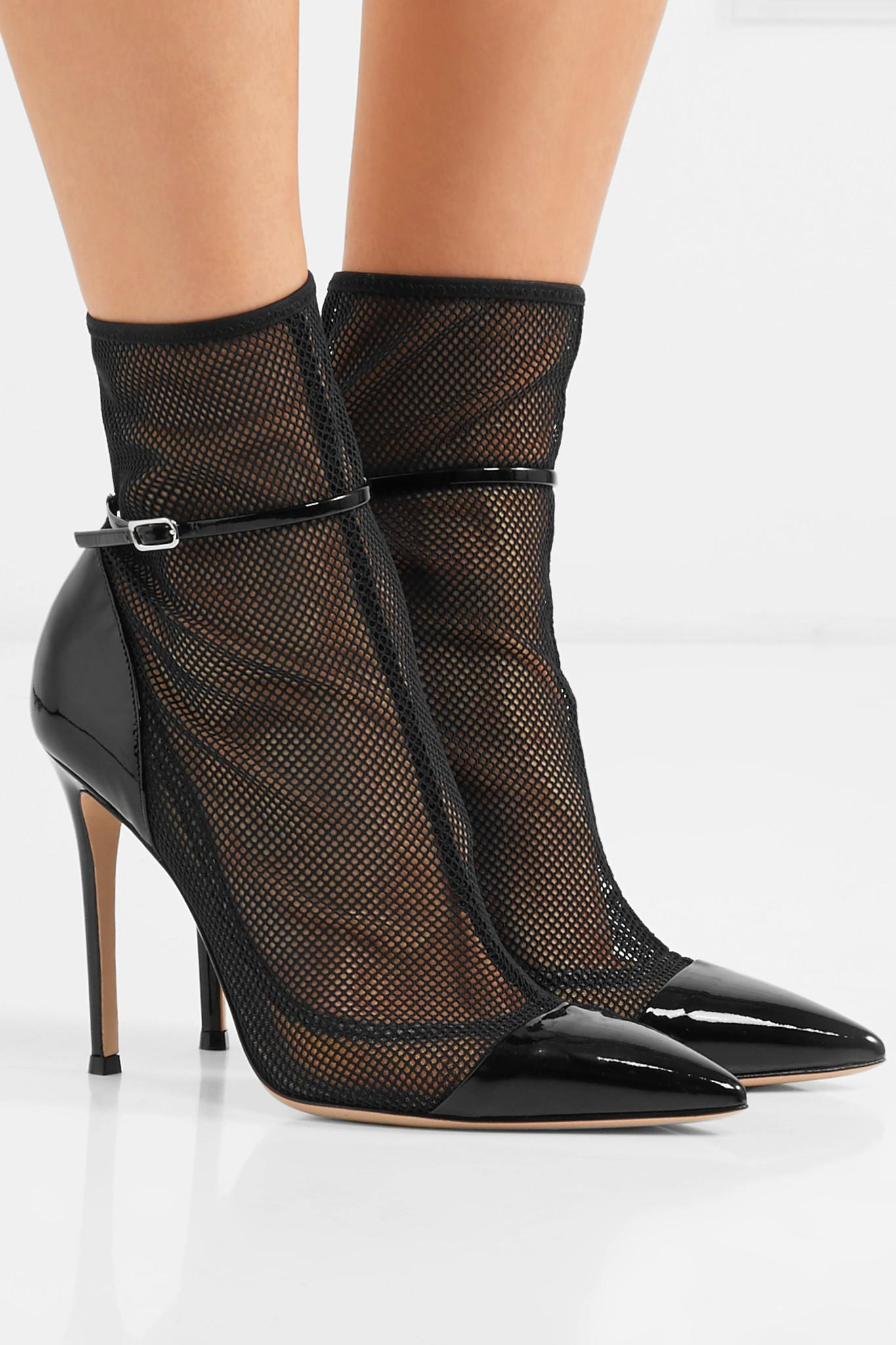 8bcd2587c50e Gianvito Rossi - Black Mesh And Patent-leather Ankle Boots - Lyst. View  fullscreen