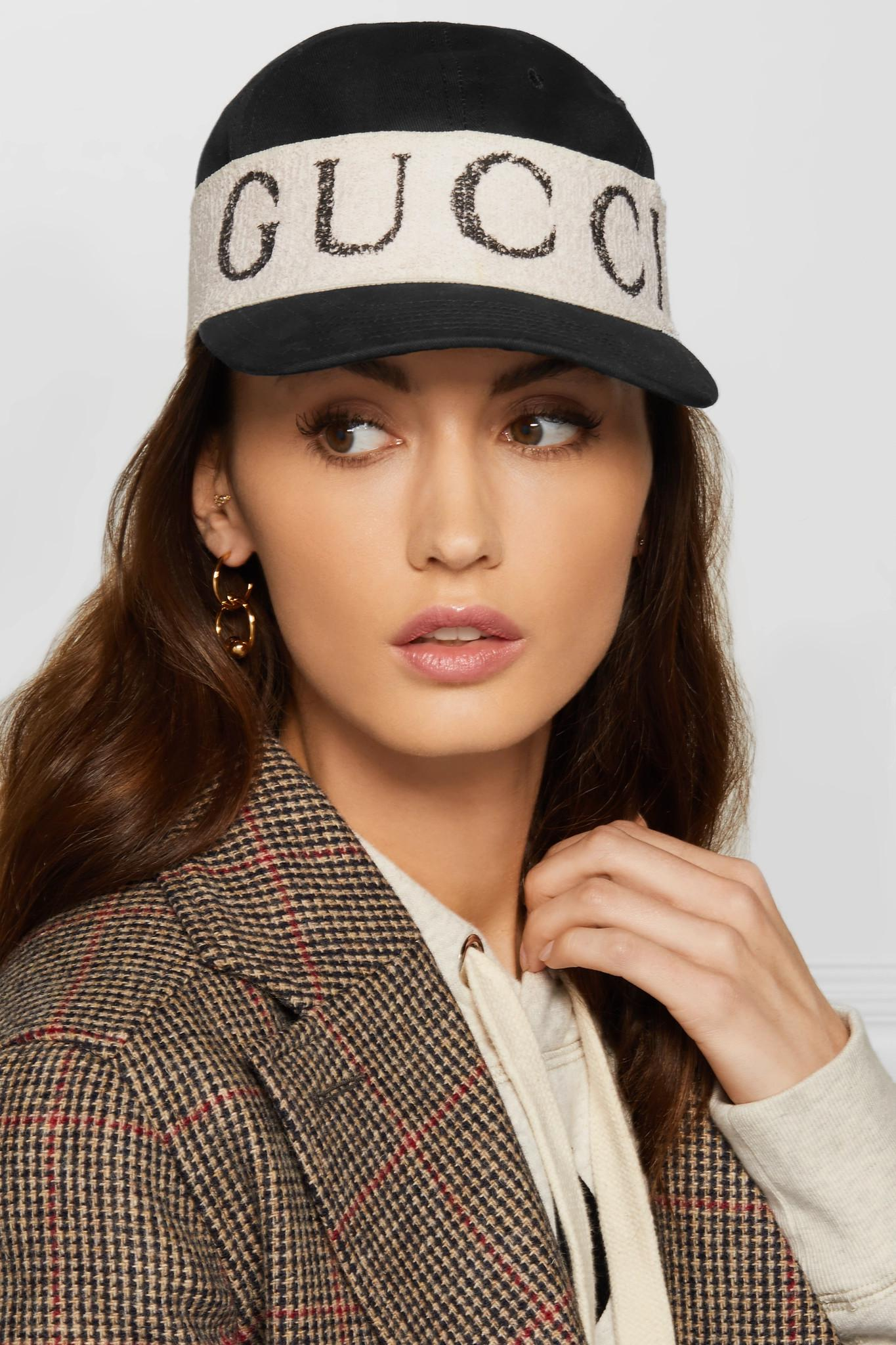 9066323619 Gucci Cotton-twill And Printed Terry Baseball Cap in Black - Lyst
