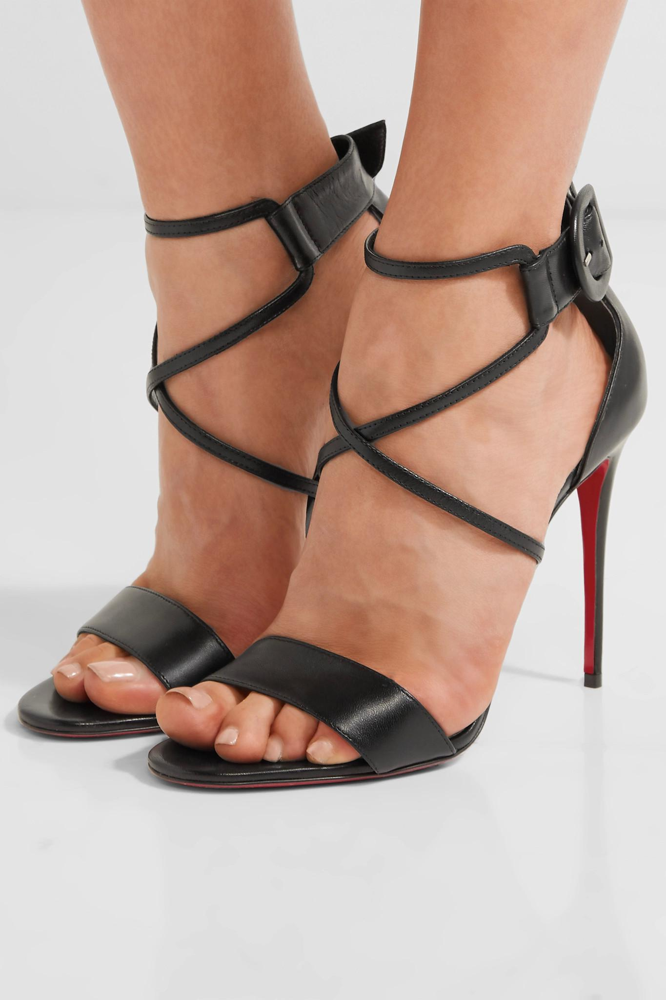 9b9f80ea167e Lyst - Christian Louboutin Choca 100 Leather Sandals in Black