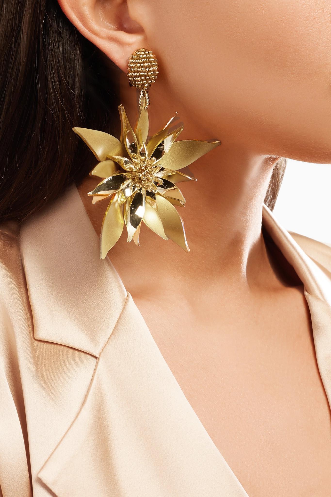 Oscar De La Renta Starfish Flower Beaded Pvc Clip Earrings - Gold ZhyK6v