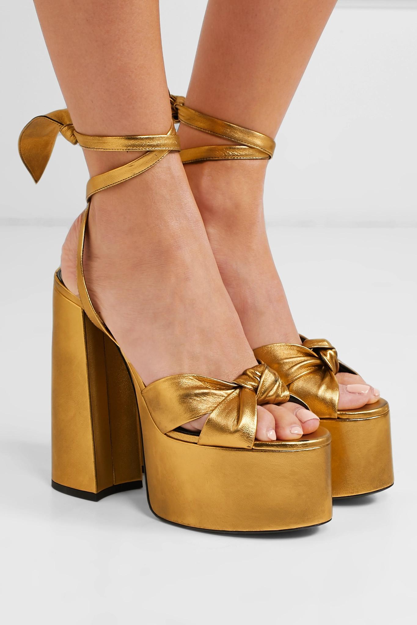 6e1e15c7dffd Saint Laurent - Paige Metallic Leather Platform Sandals - Lyst. View  fullscreen