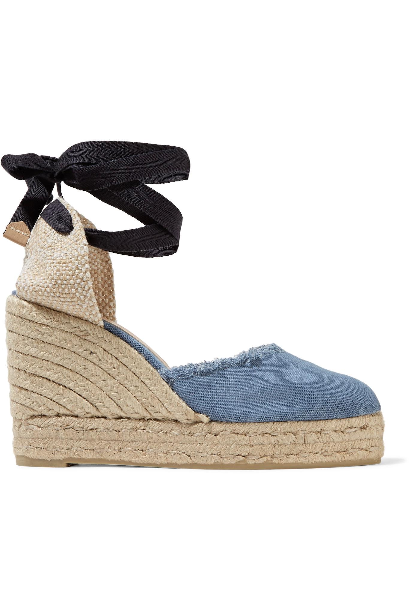 7812bac40dd Lyst - Castaner Canela Fringed Denim Wedge Espadrilles in Blue