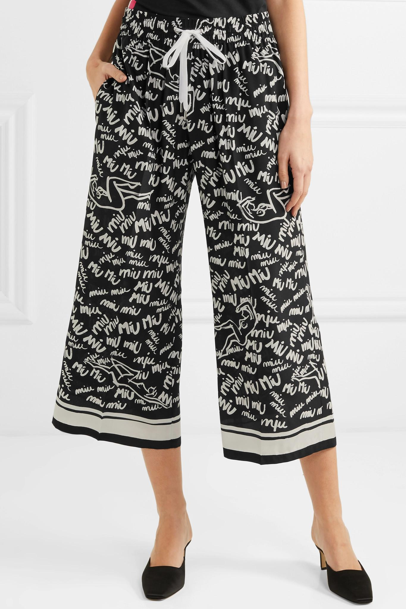 Printed Silk-blend Crepe De Chine Wide-leg Pants - Black Oscar De La Renta x9EuaDe8