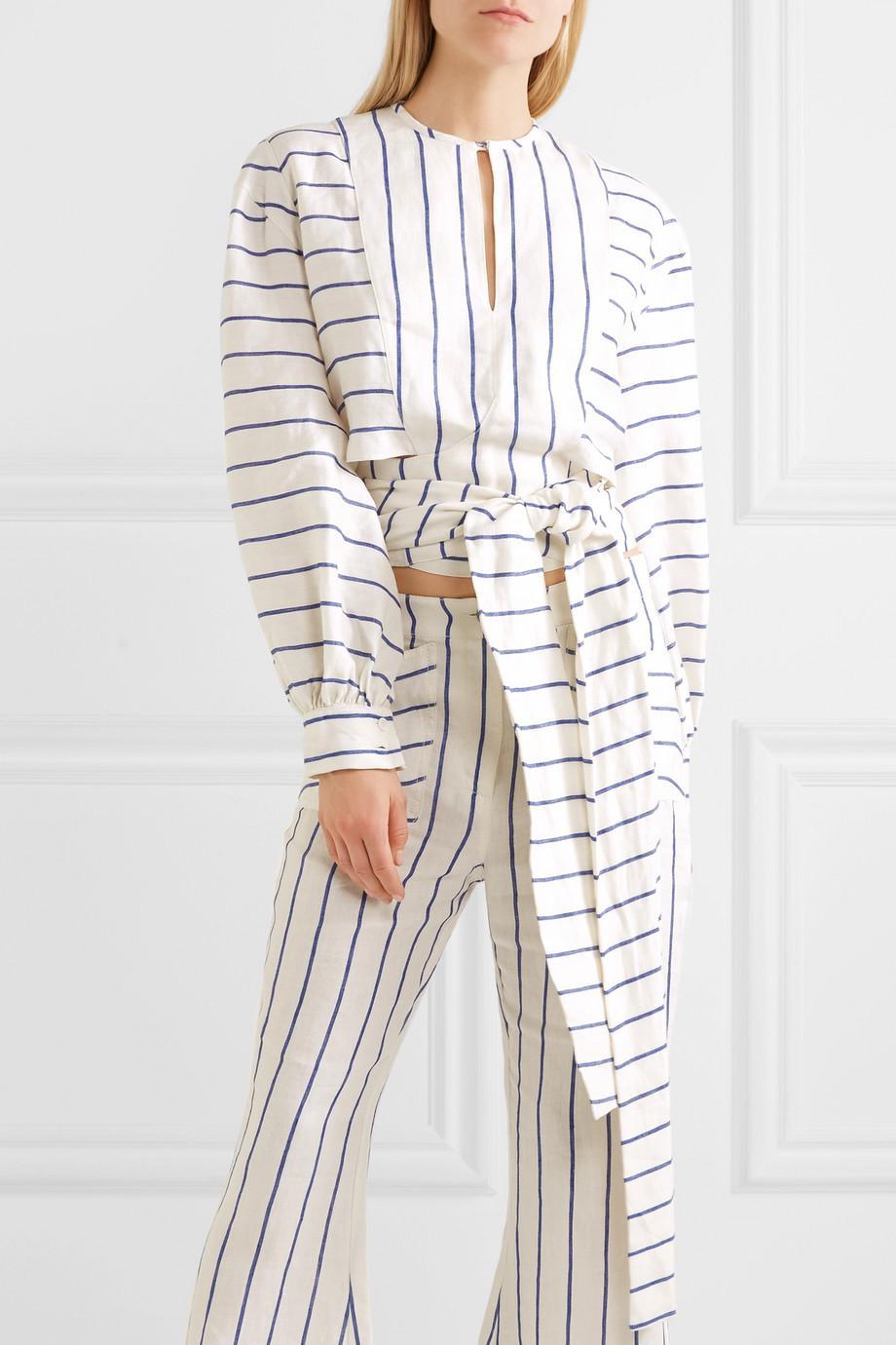Striped Linen Wrap Top - White Rosie Assoulin Clearance Discount Sale Shopping Online Real Cheap Price Cheap Sale Top Quality Cheap Sale Best Place 1LoG7MeG