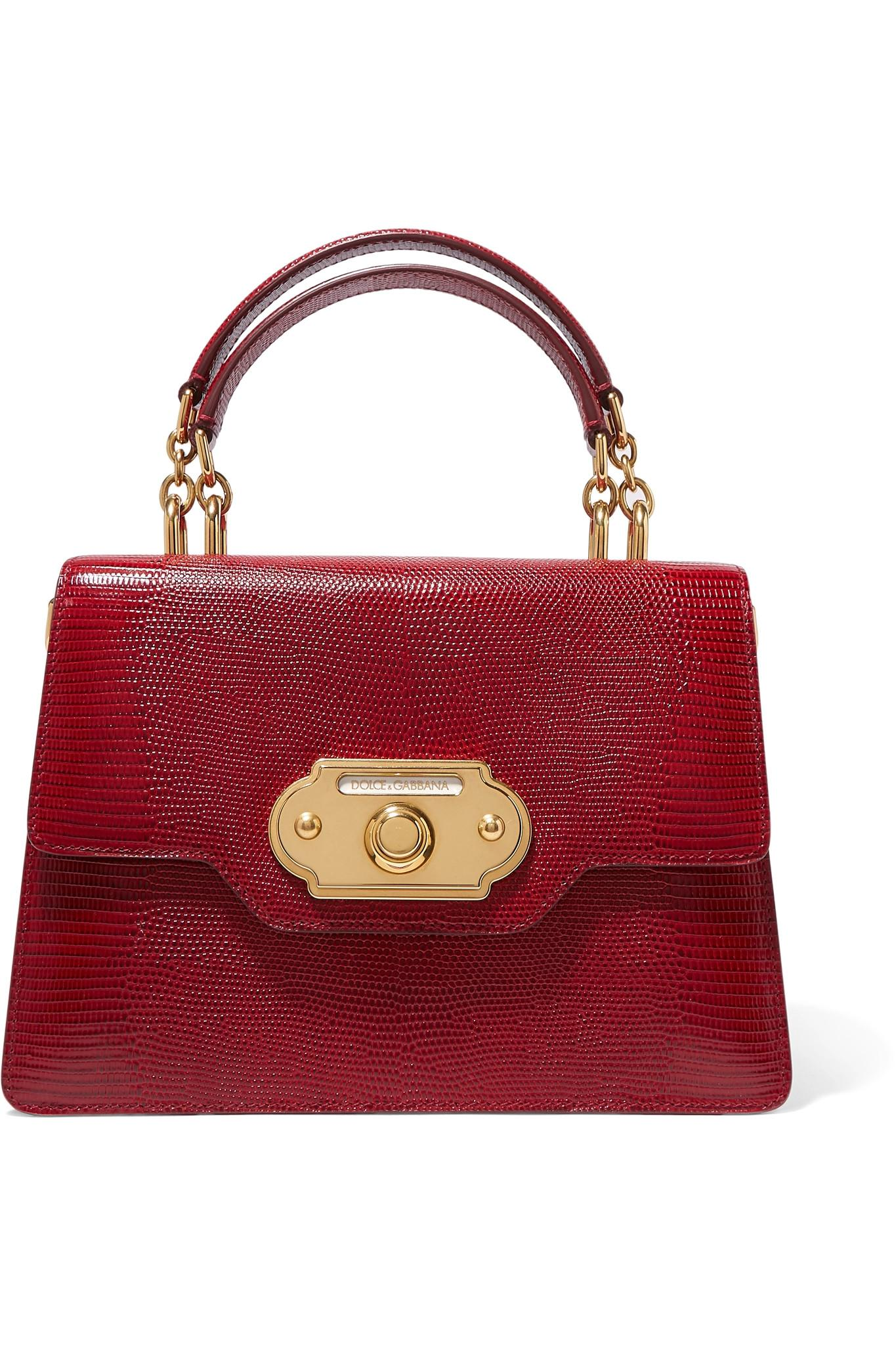 7fb5dbda857 Lyst - Dolce & Gabbana Welcome Medium Lizard-effect Leather Tote in Red