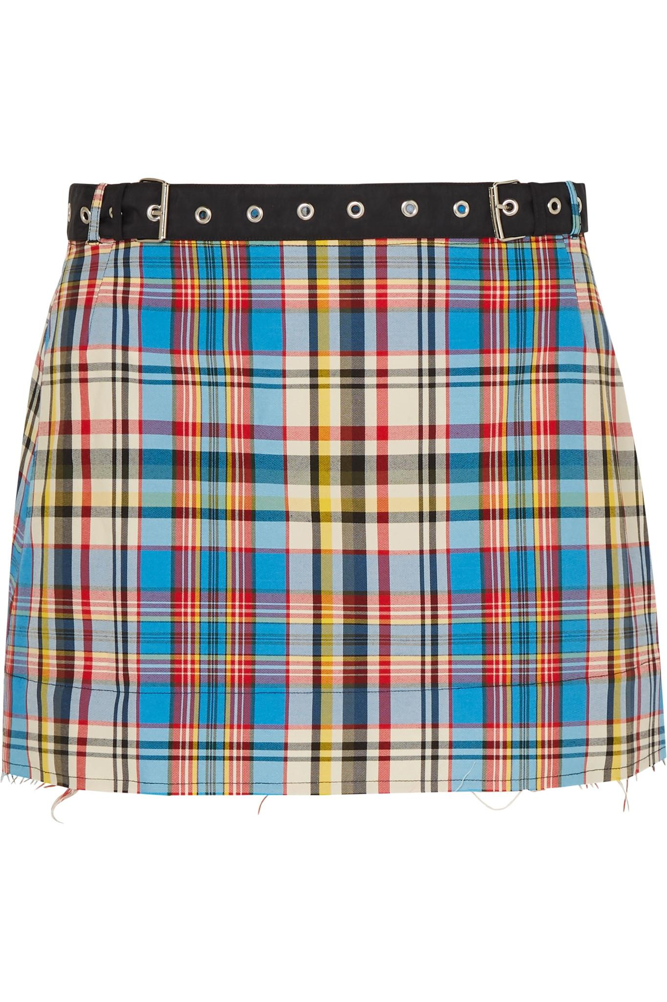 e4dc707ce0 Lyst - Marques'Almeida Belted Check Mini Skirt in Blue - Save 24%