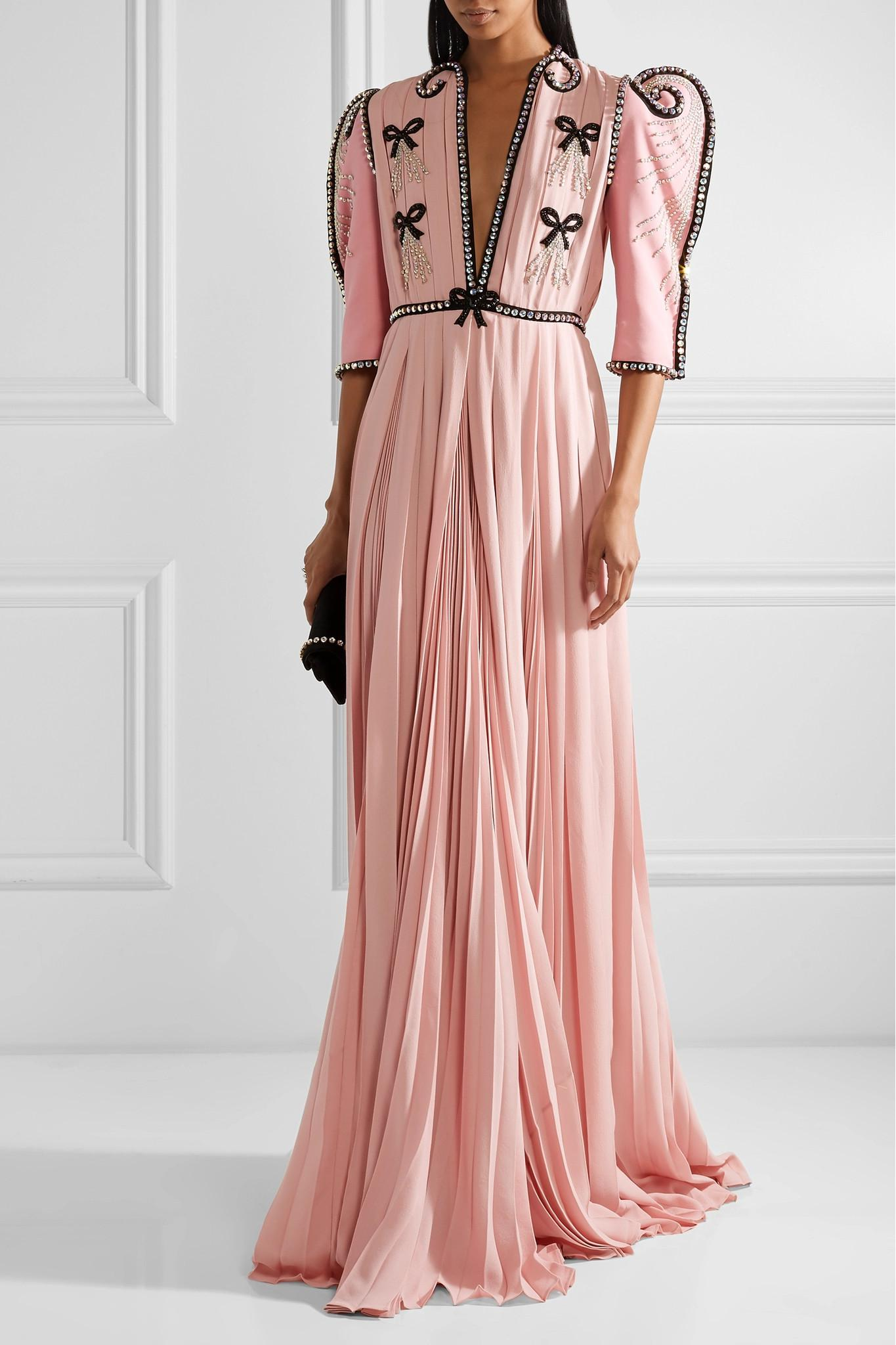 6fb88ae2e Gucci Swarovski Crystal-embellished Wool And Silk-blend And Plissé ...