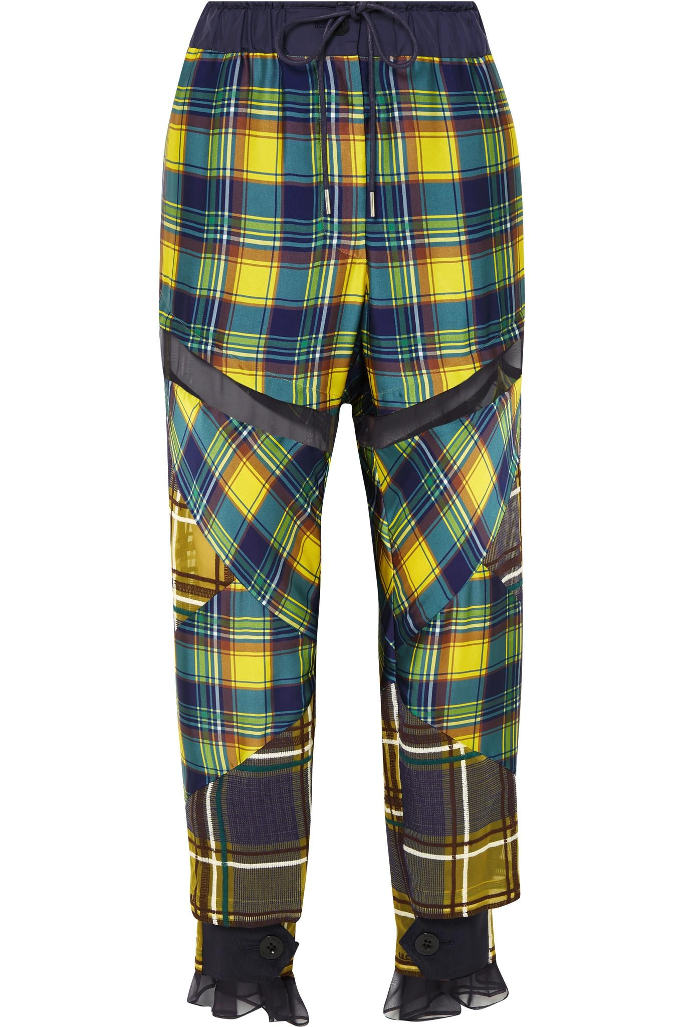 Pantalon En Satin À Carreaux Maille Garni - Sacai Jaune yNZyl3l