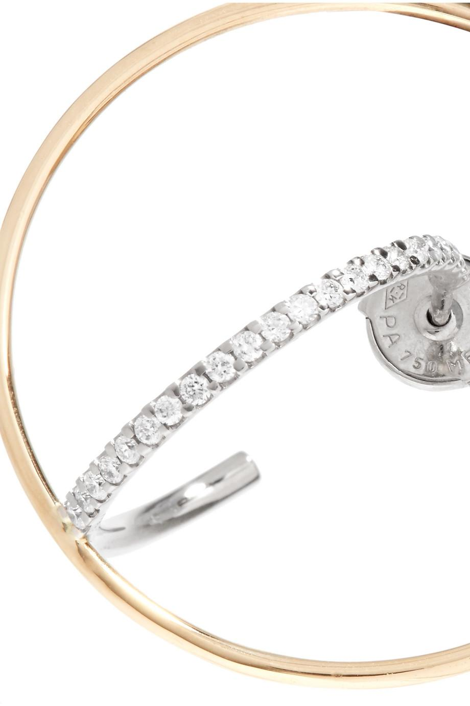 Charlotte Chesnais Saturn 18-karat Gold Diamond Hoop Earring M3WhY