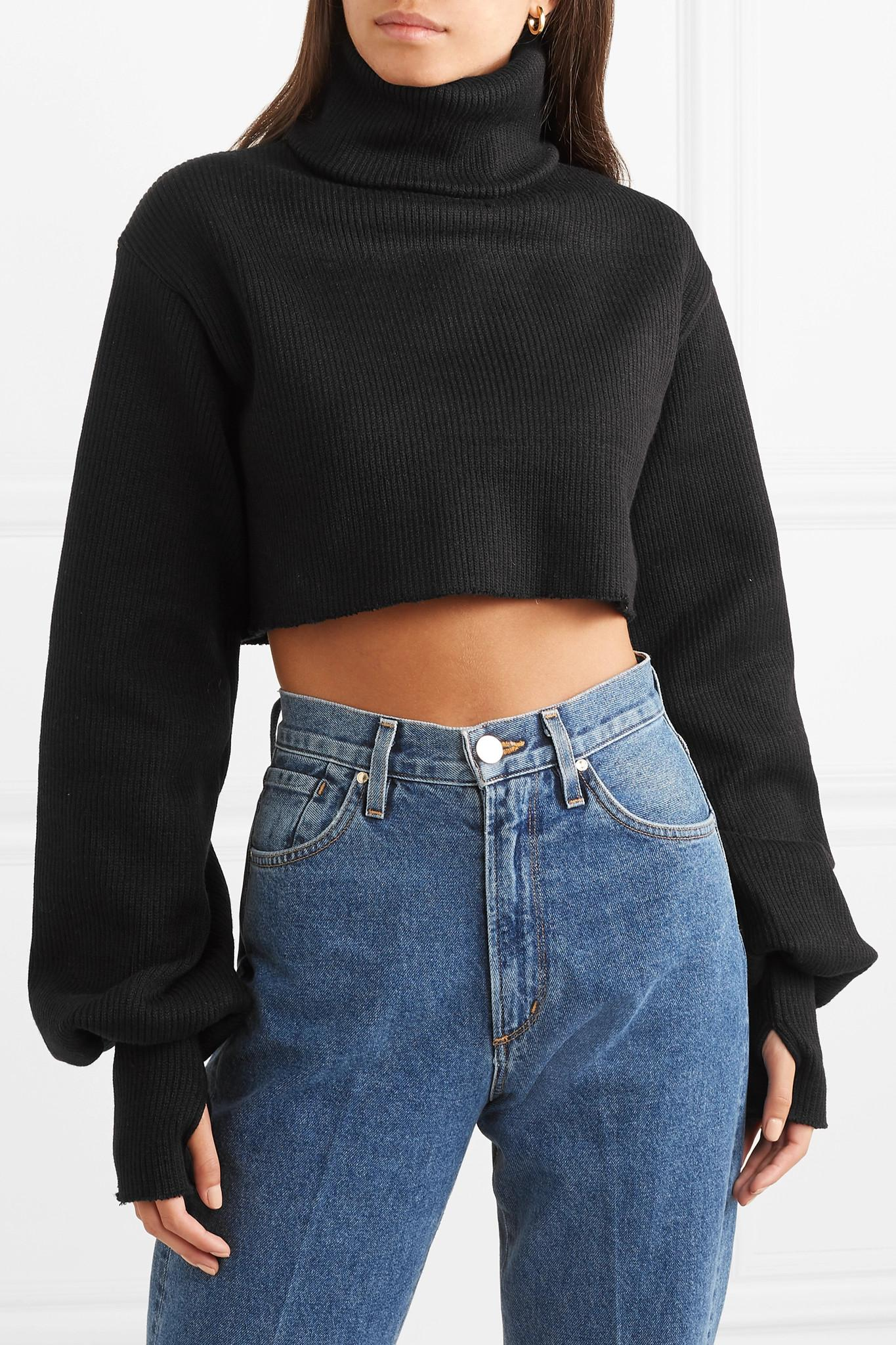 06d41d69744 Orseund Iris - Black Cropped Ribbed-knit Turtleneck Sweater - Lyst. View  fullscreen