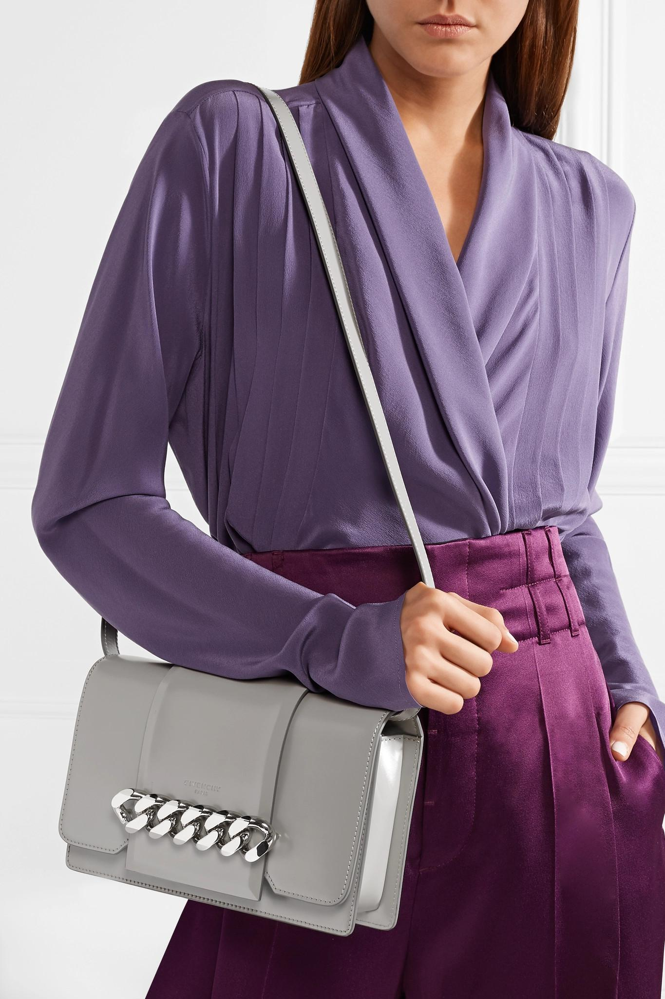 d844a48c9c Givenchy - Gray Infinity Chain-trimmed Leather Shoulder Bag - Lyst. View  fullscreen