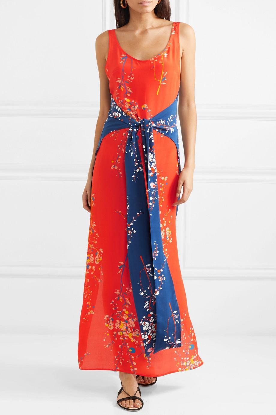 Elizabeth Paneled Floral-print Silk Crepe De Chine Maxi Dress - Coral Jaline 2xQHzr