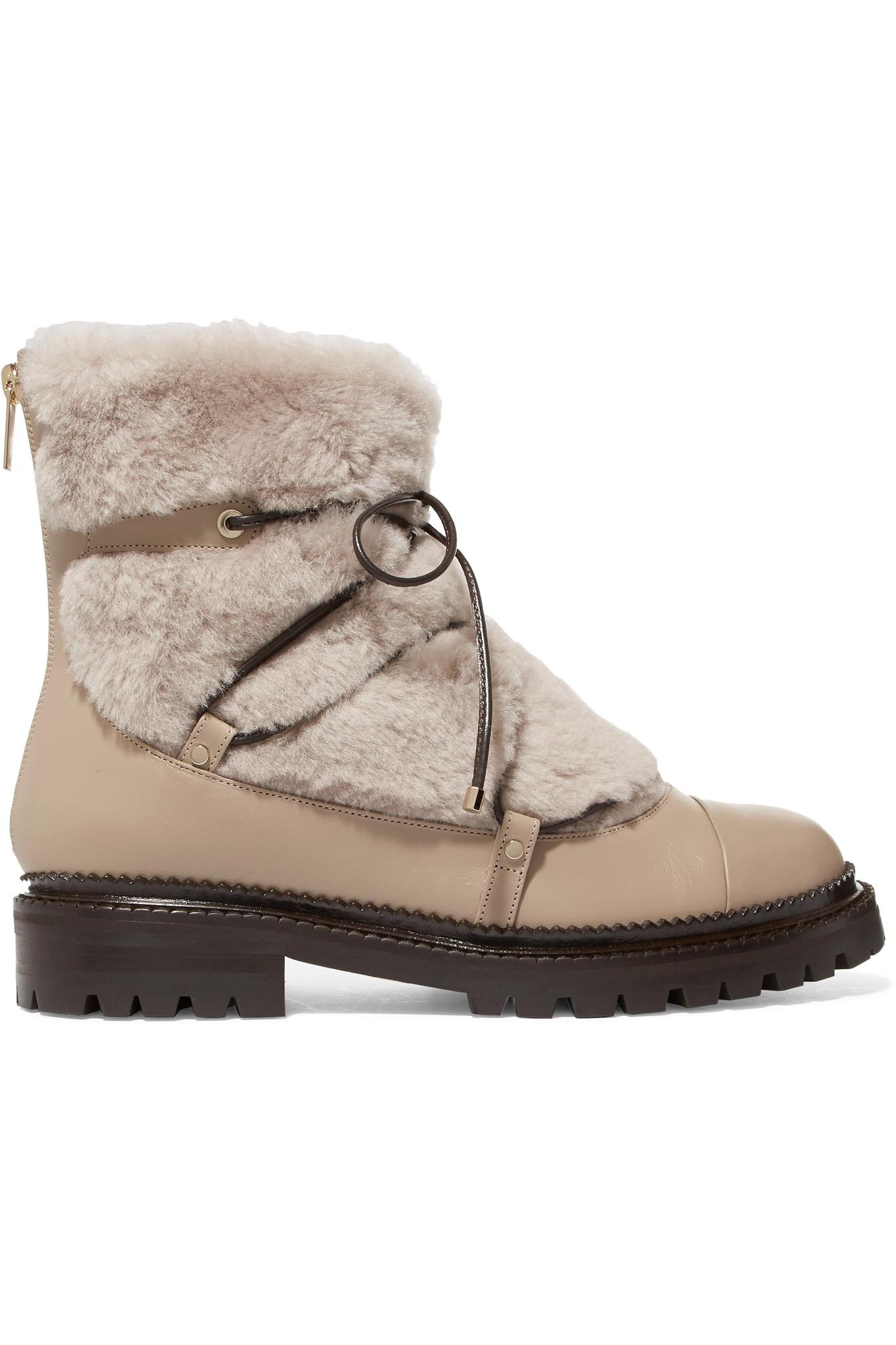 844600558c1 Jimmy Choo Darcie Shearling And Leather Ankle Boots in Natural - Lyst