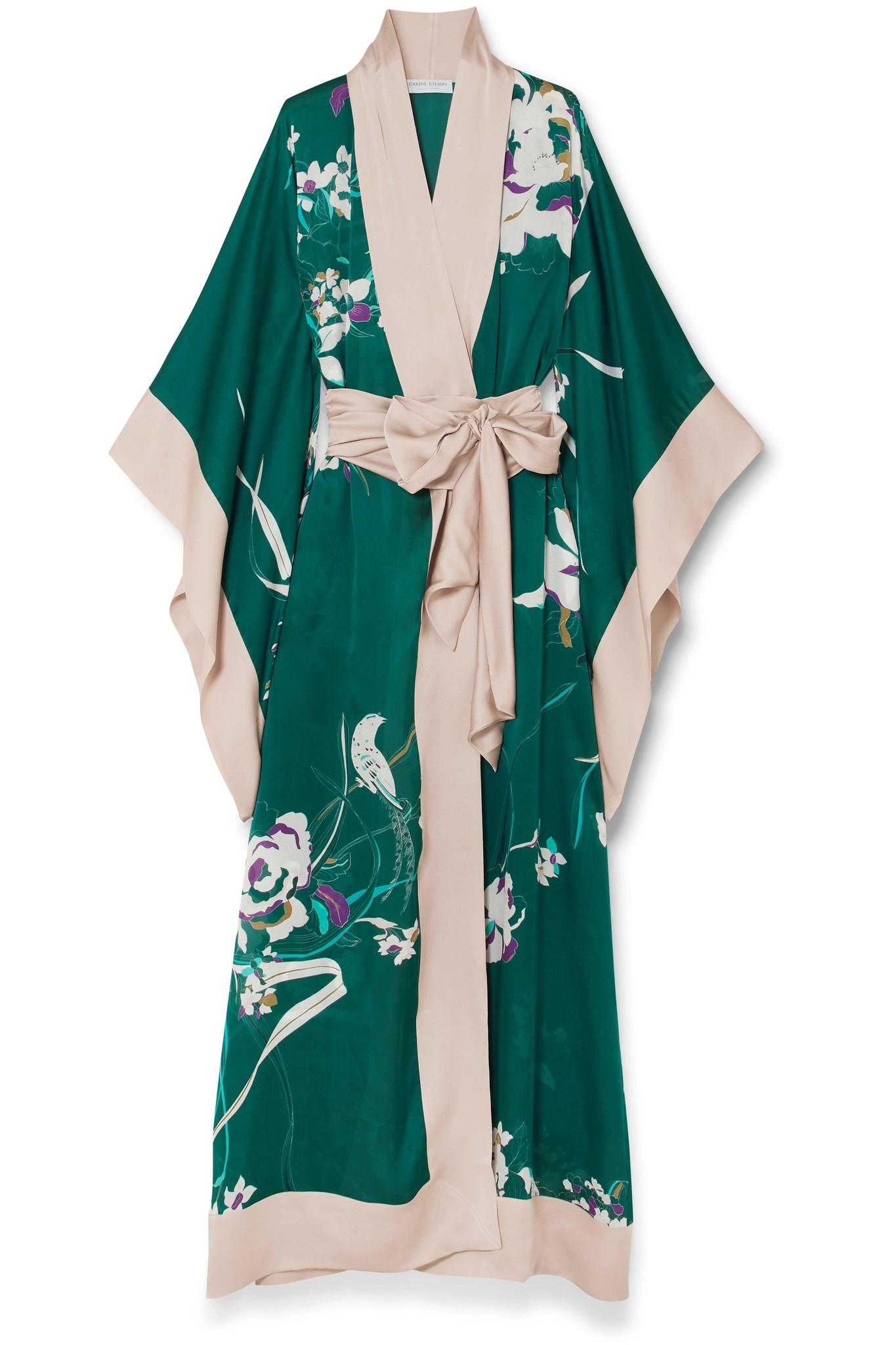 For Cheap For Sale Excellent Online Printed Silk-satin Robe - Emerald Carine Gilson 39BA8e