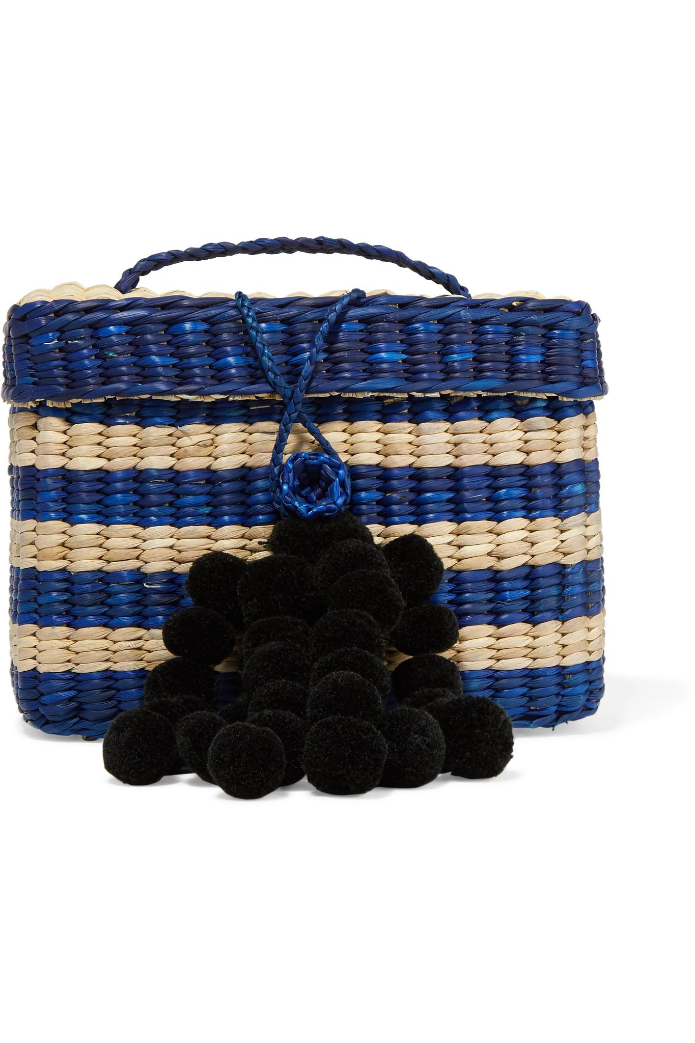 Baby Roge Pompom-embellished Striped Woven Raffia Tote - Navy NANNACAY aXWahLVfRX