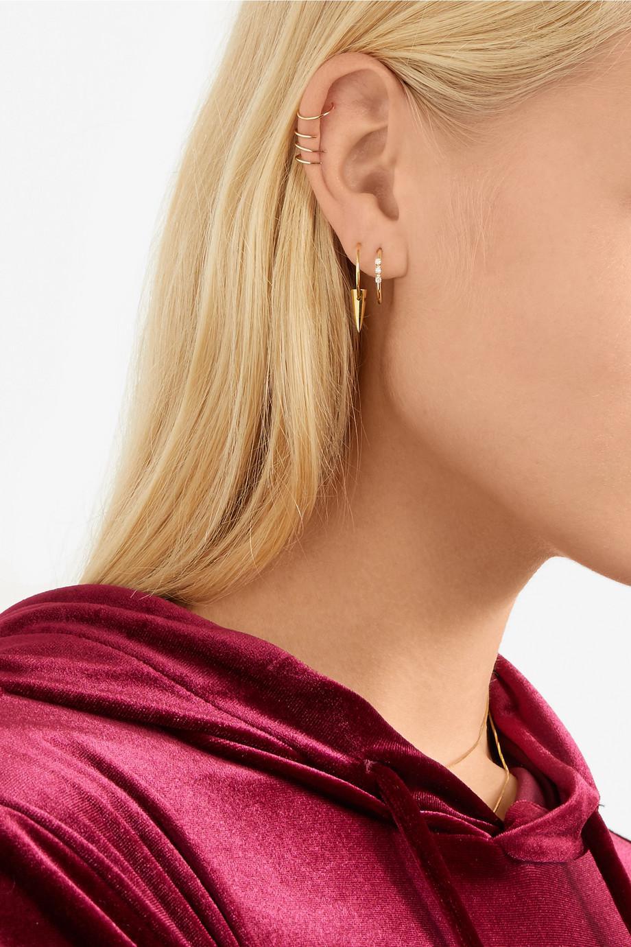 Lyst Loren Stewart Gold Diamond Hoop Earrings In Metallic