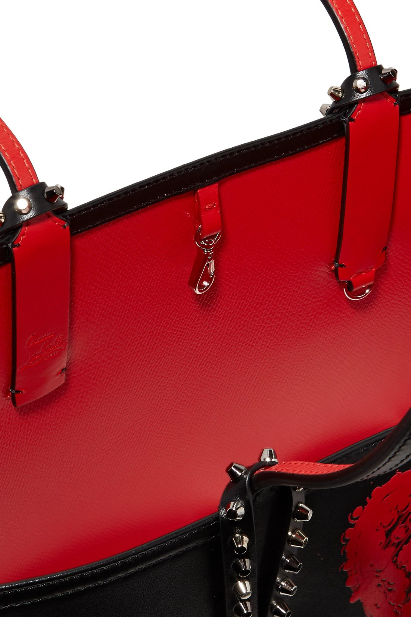 Cabata Studded Printed Leather Tote - Red Christian Louboutin piItJr