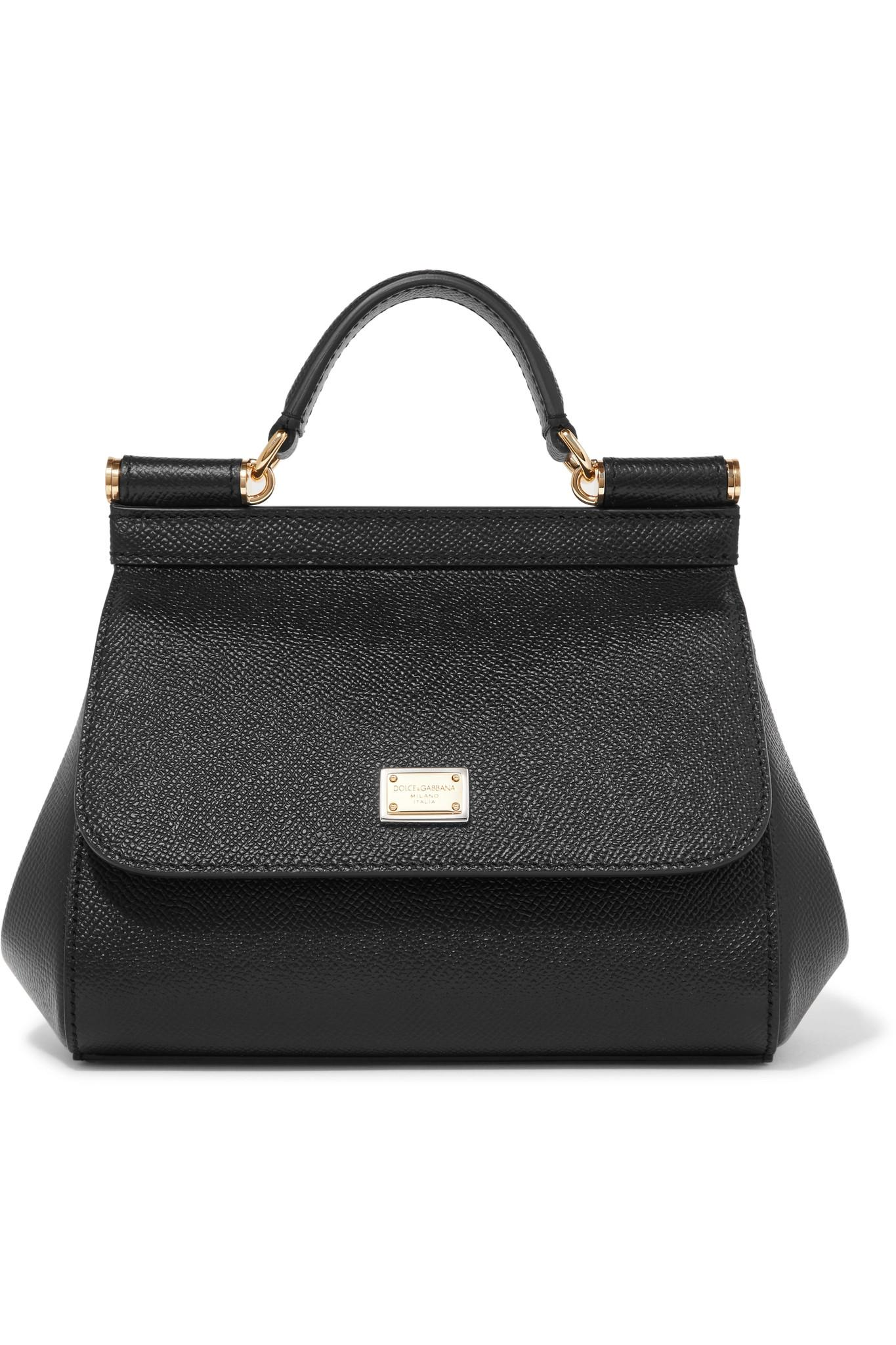 Dolce   Gabbana Sicily Micro Textured-leather Tote in Black - Lyst a63933eb3b824