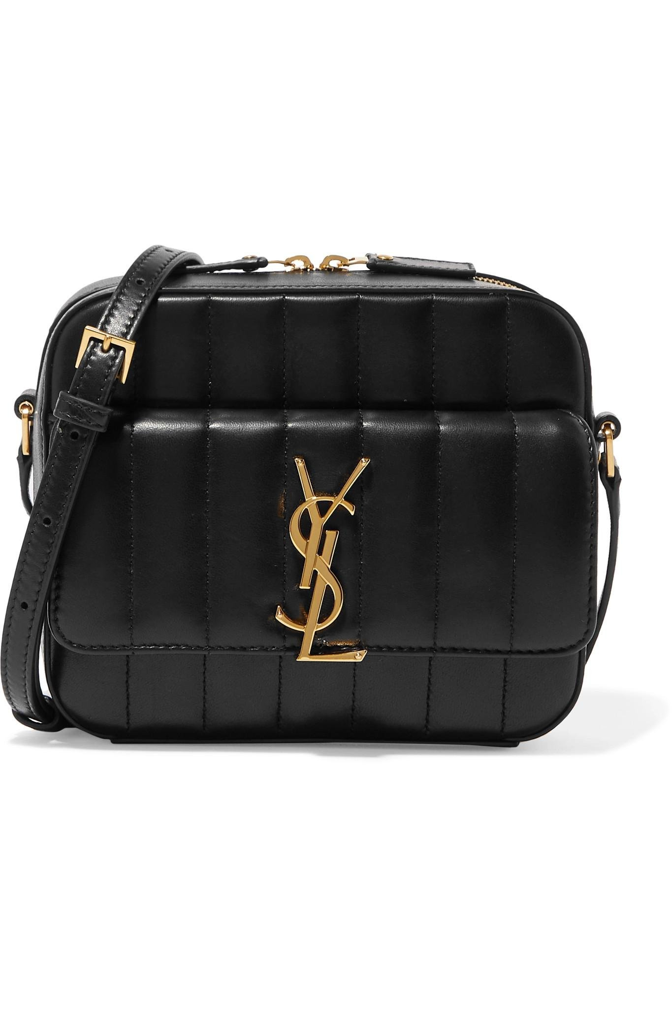 2df2d39703cec Lyst - Saint Laurent Vicky Quilted Leather Camera Bag in Black