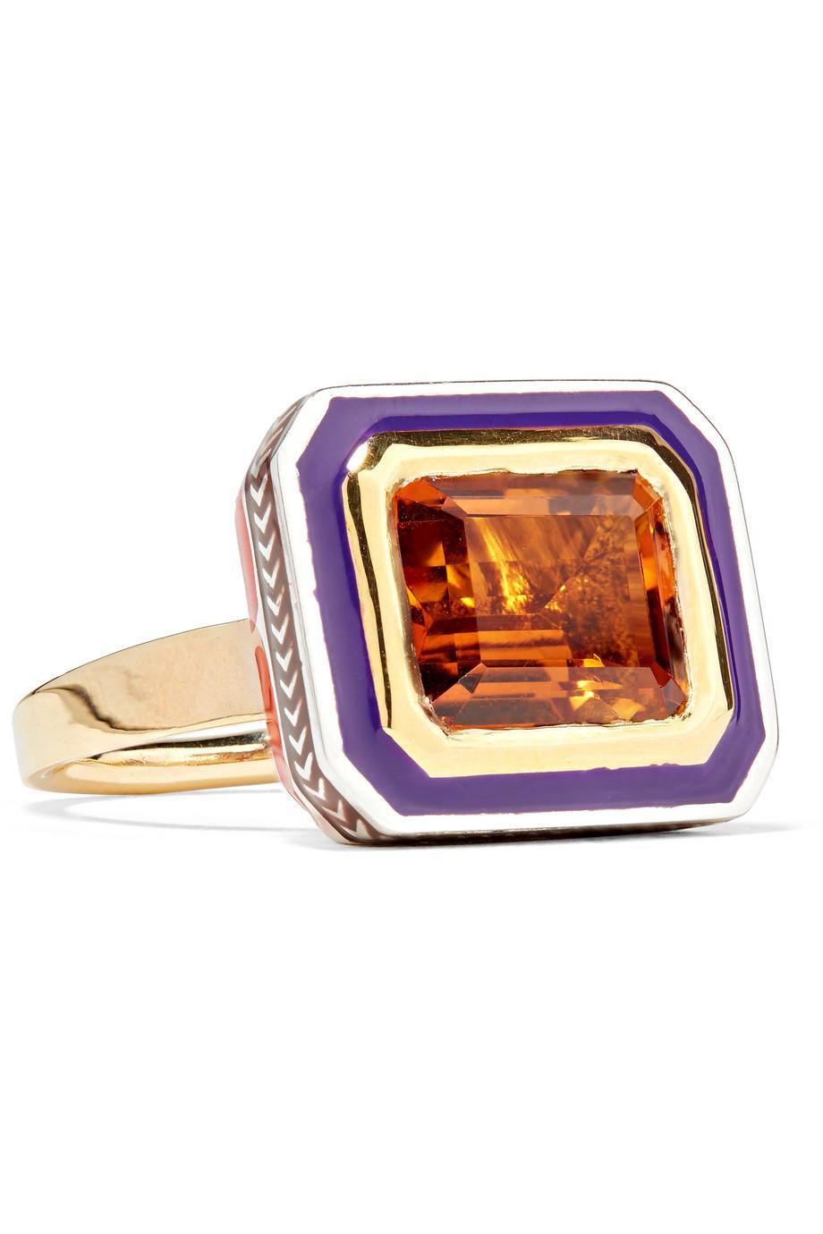 Alice Cicolini Tile 22-karat Gold, Sterling Silver, Topaz And Enamel Ring